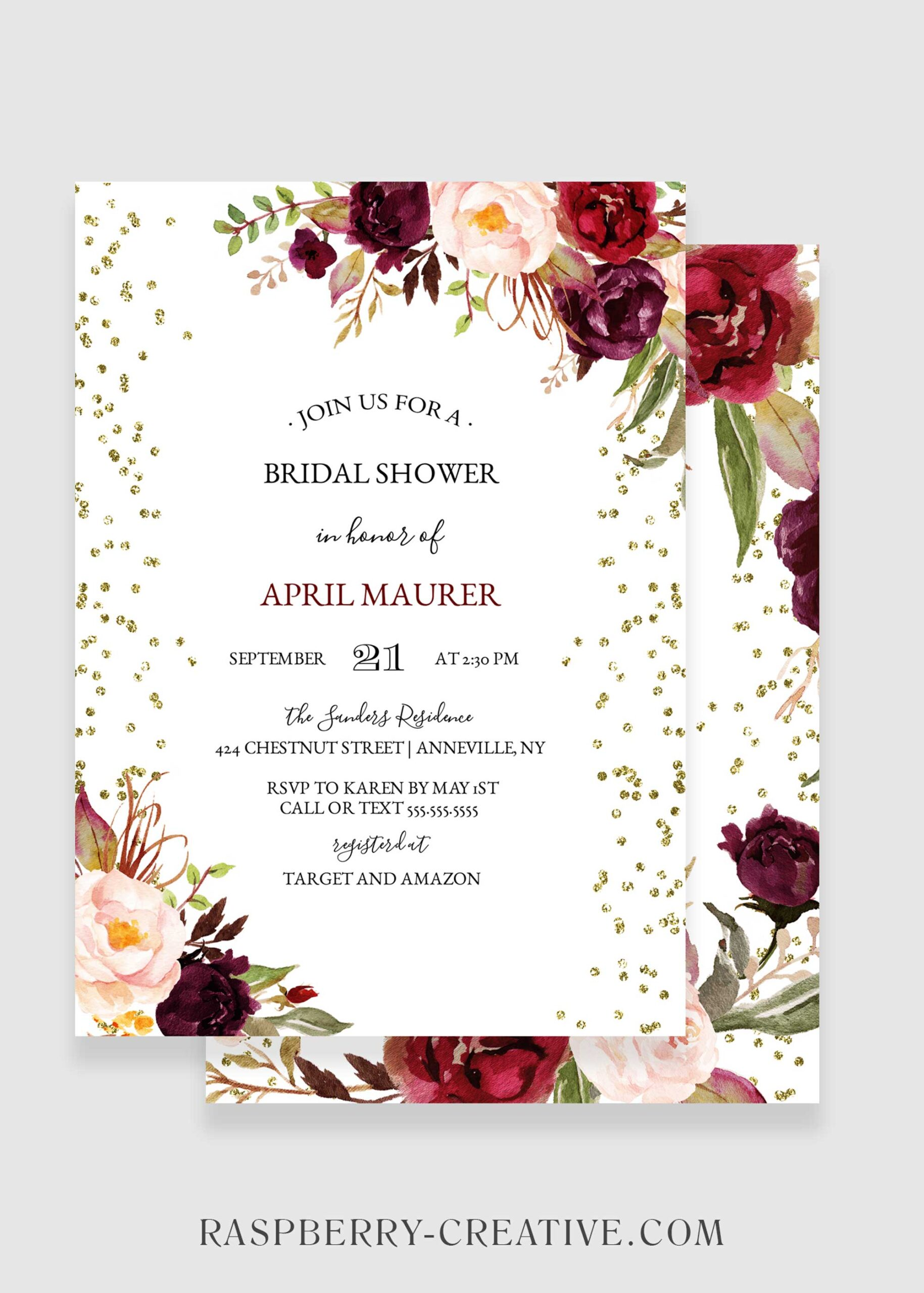 marsala gold glitter bridal shower invitation