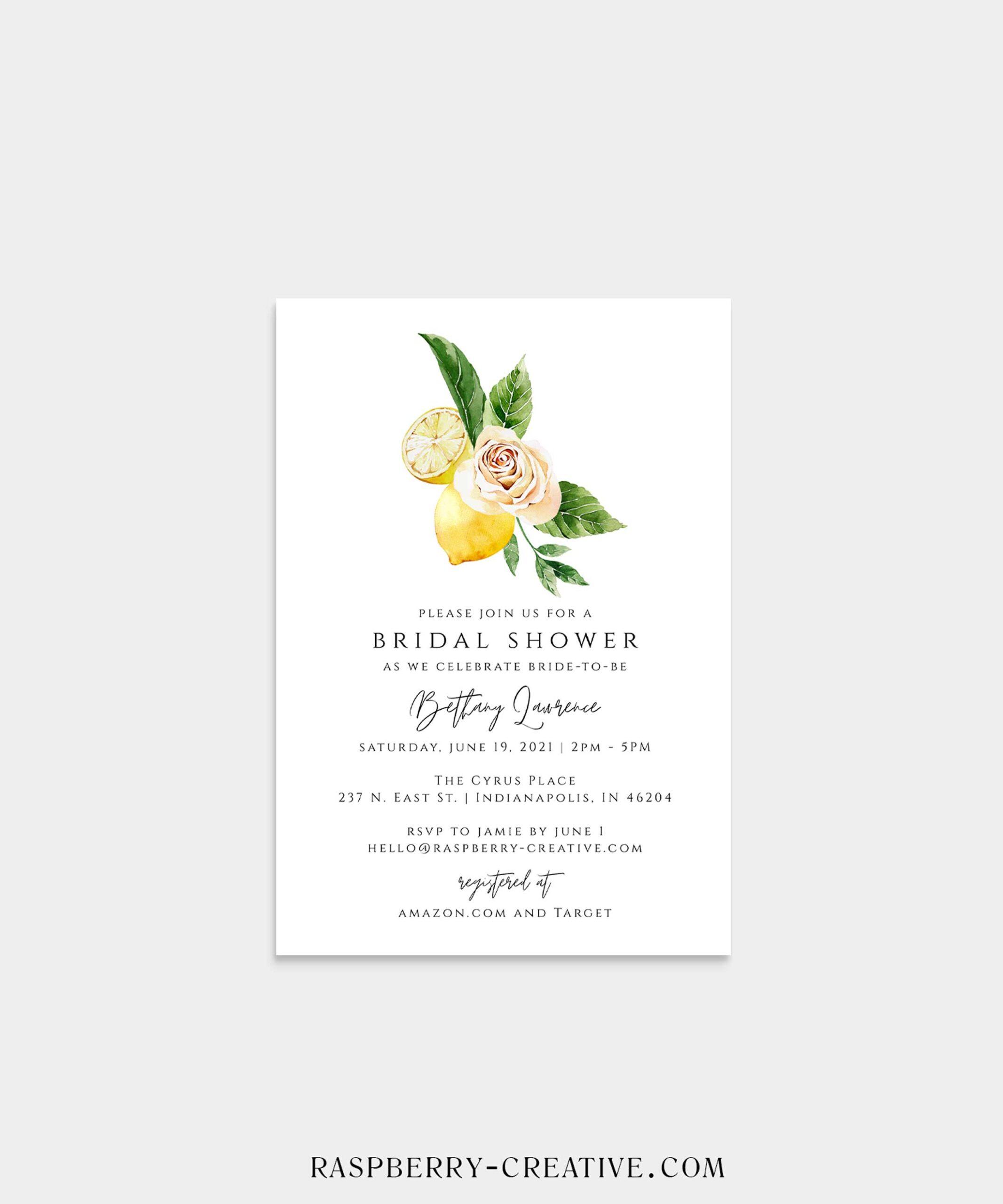 mediterranean lemon bridal shower invitation