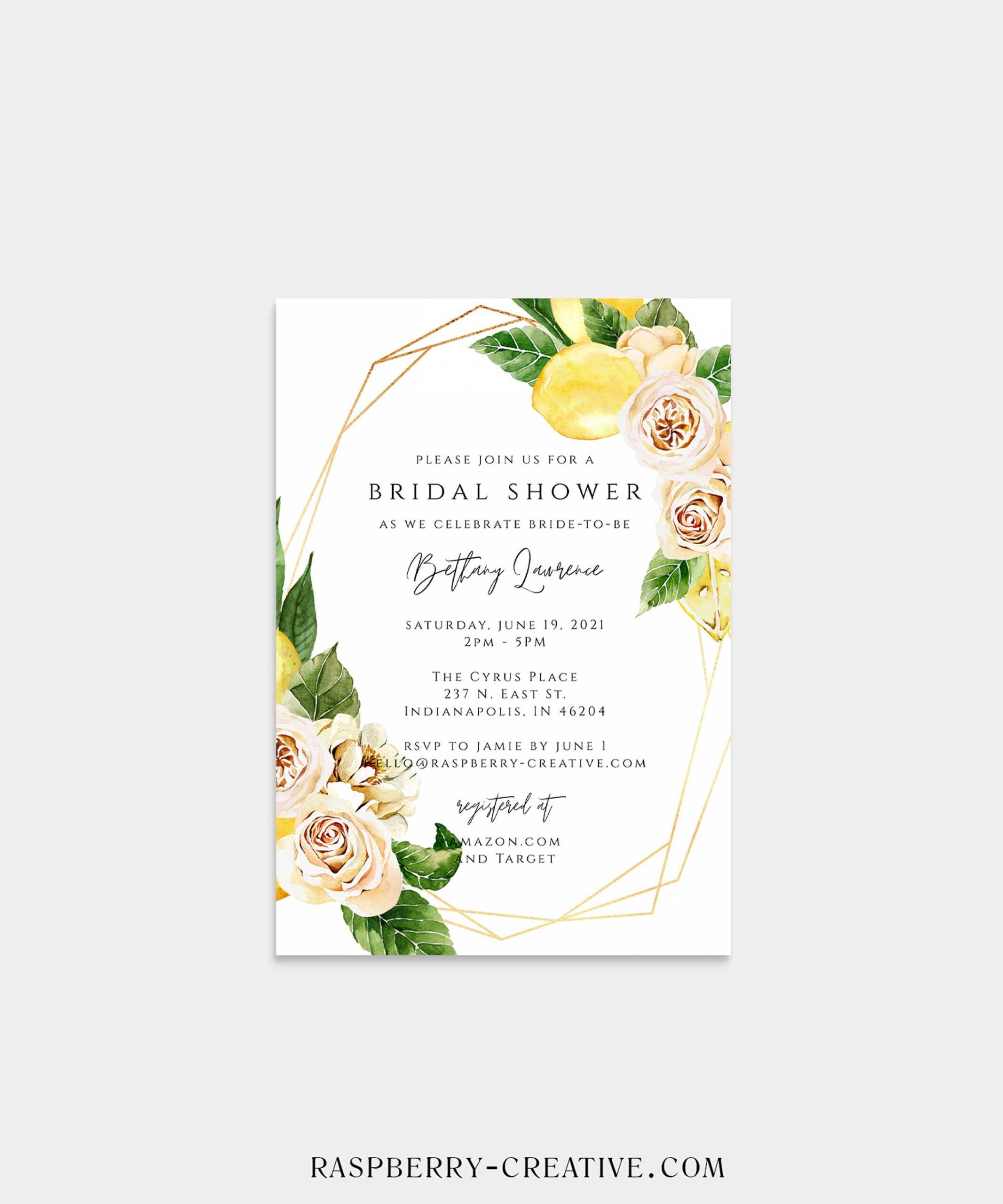 Lemon Geometric Bridal Shower Invitation