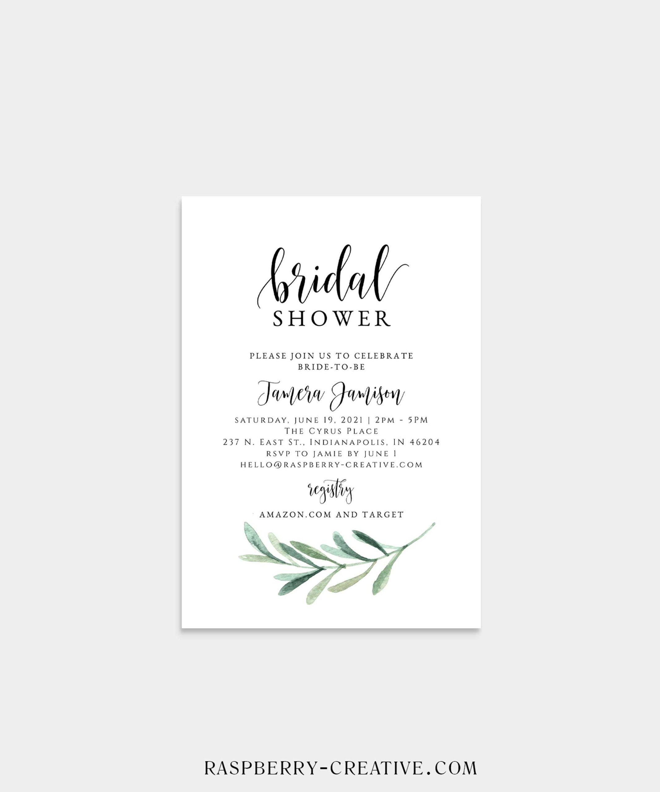 simple modern greenery bridal shower invitation
