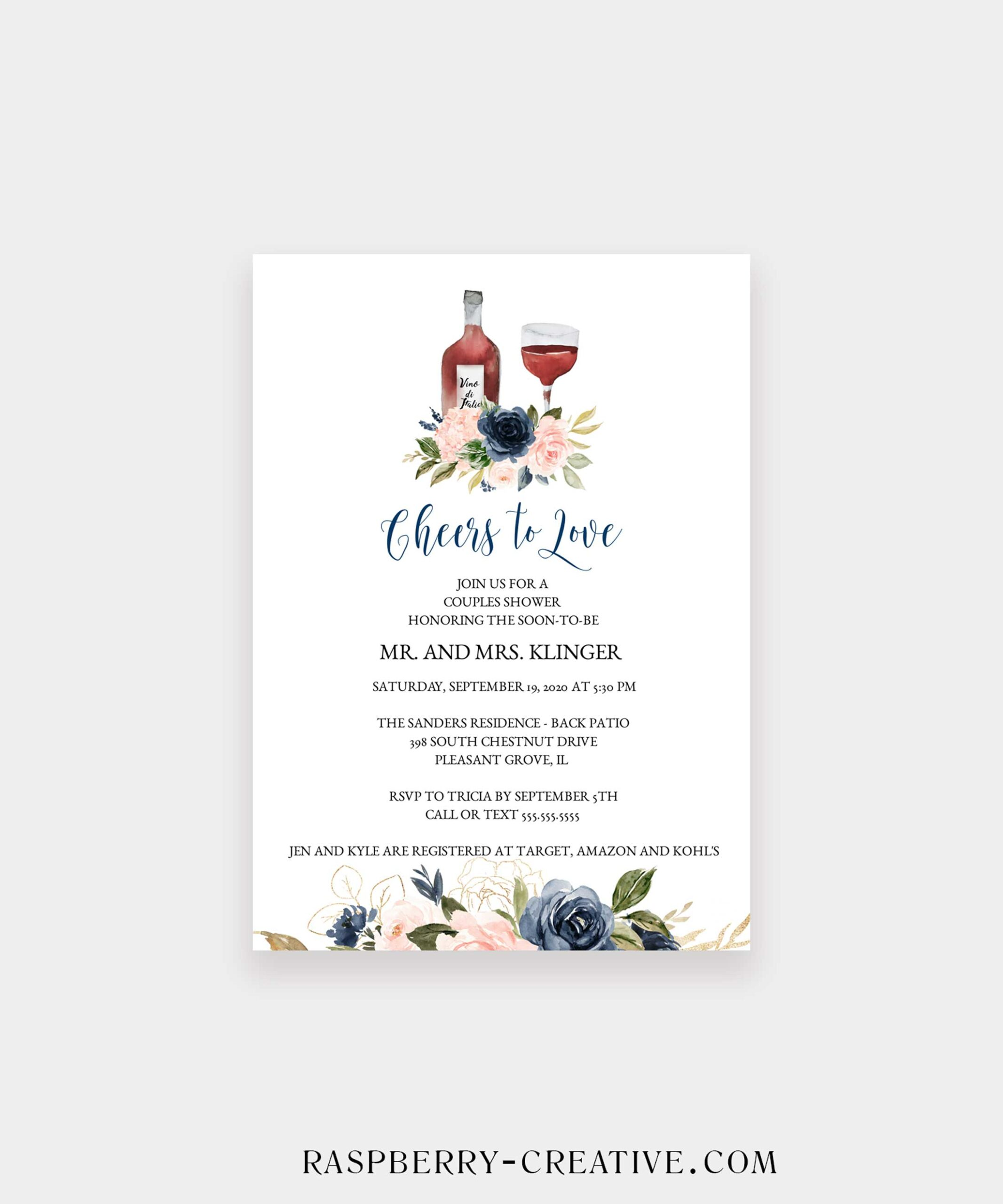 navy and blush cheers to love bridal shower invitation