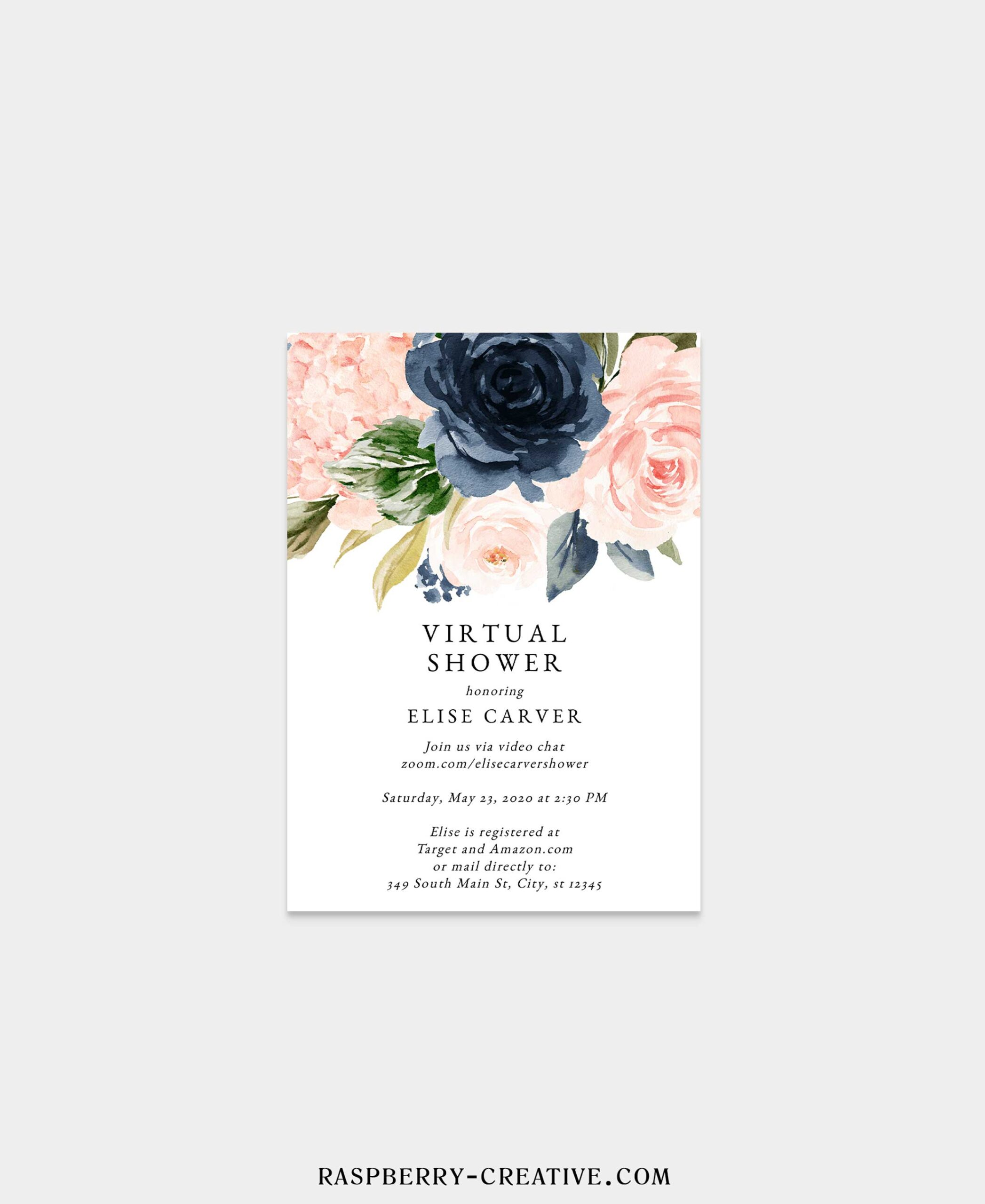 navy and blush virtual bridal shower invitation