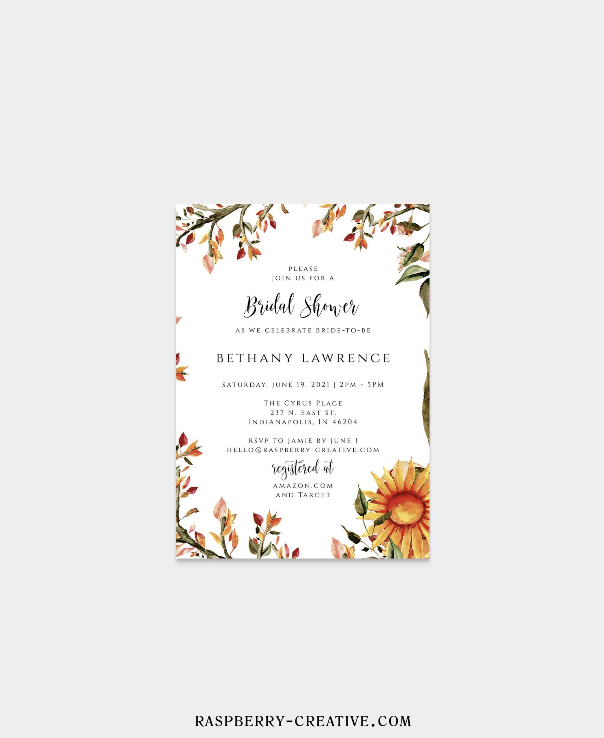 october tones bridal shower invitation