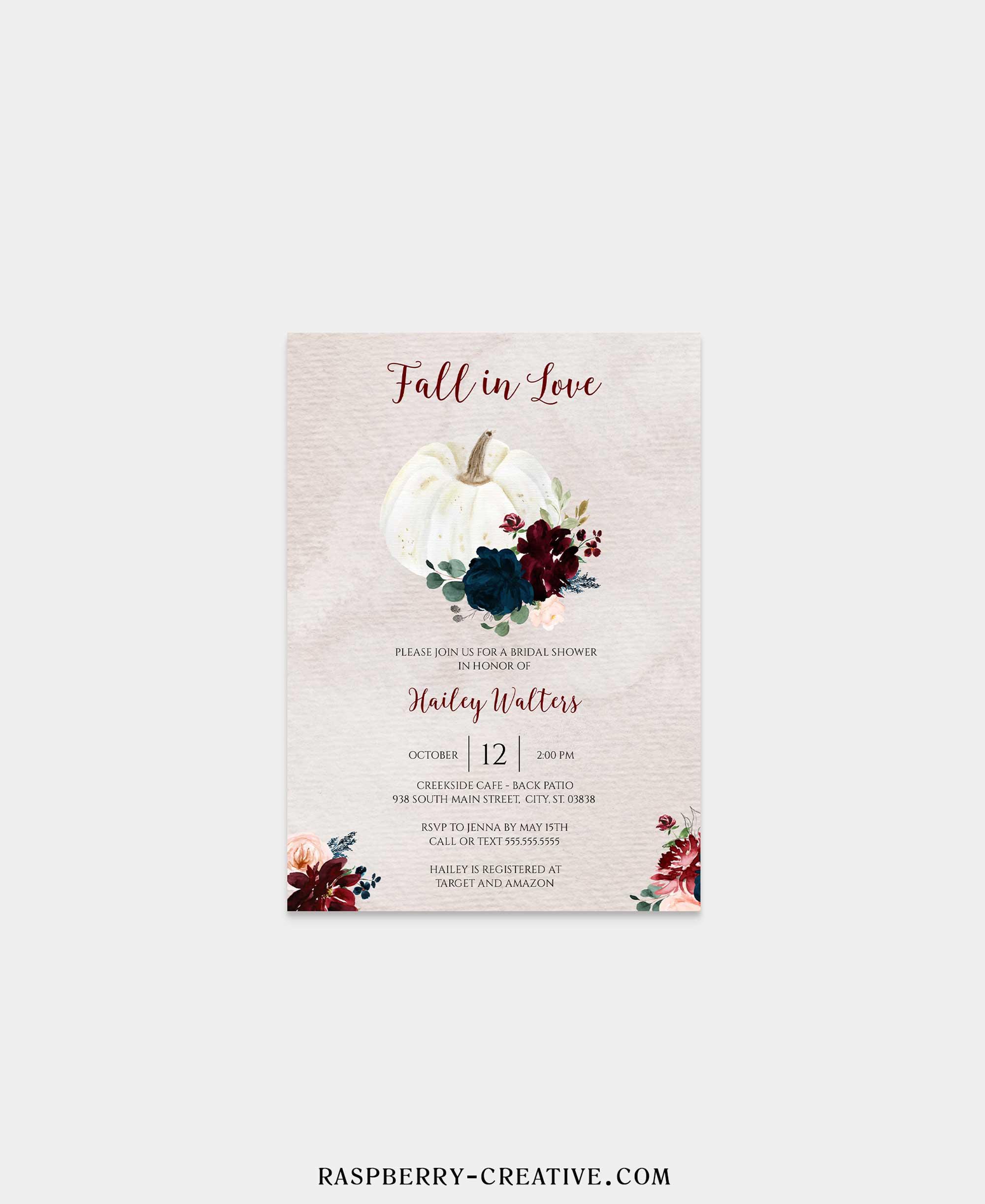 opulent fall in love bridal shower invitation