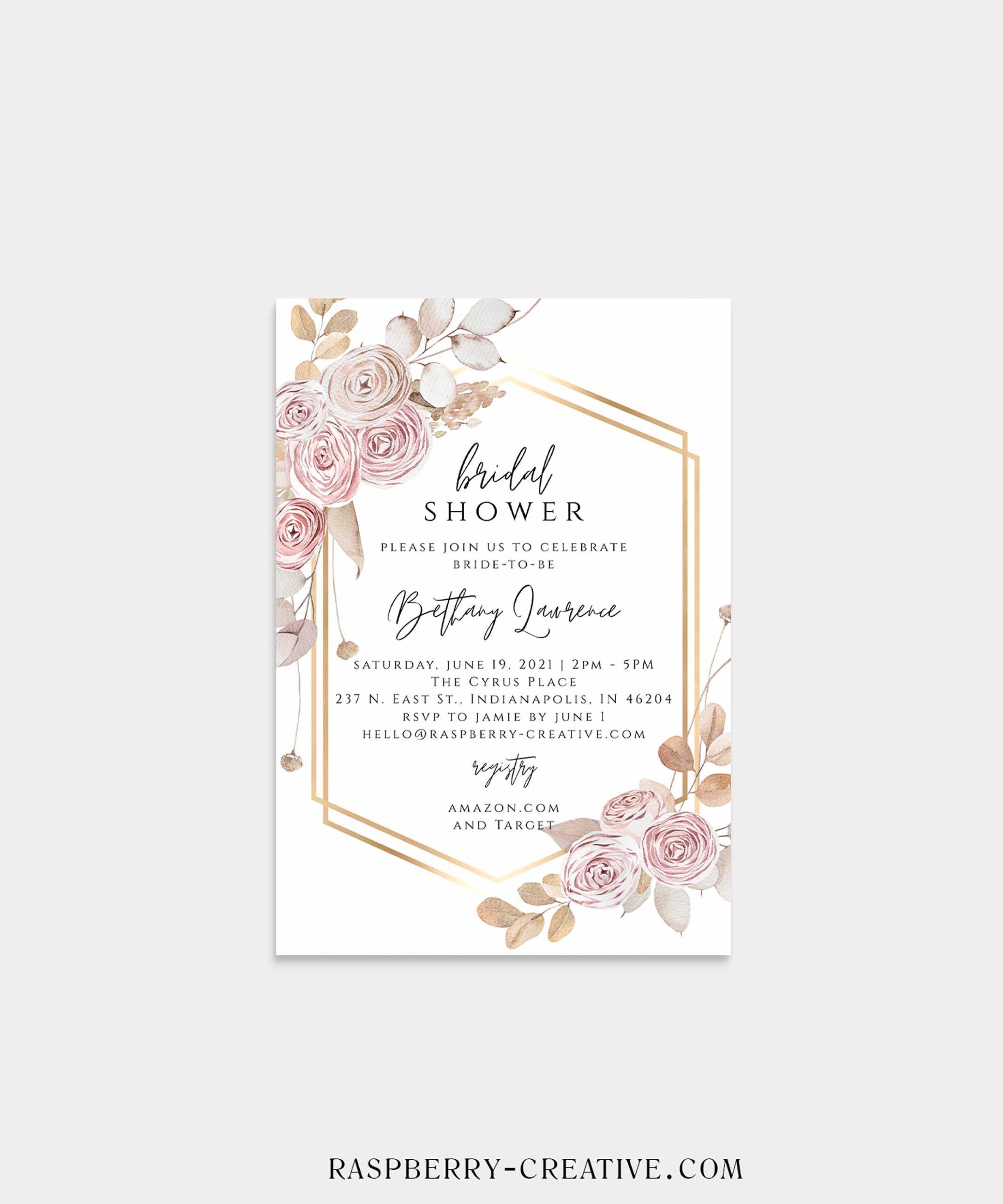 rose gold boho bridal shower invitation