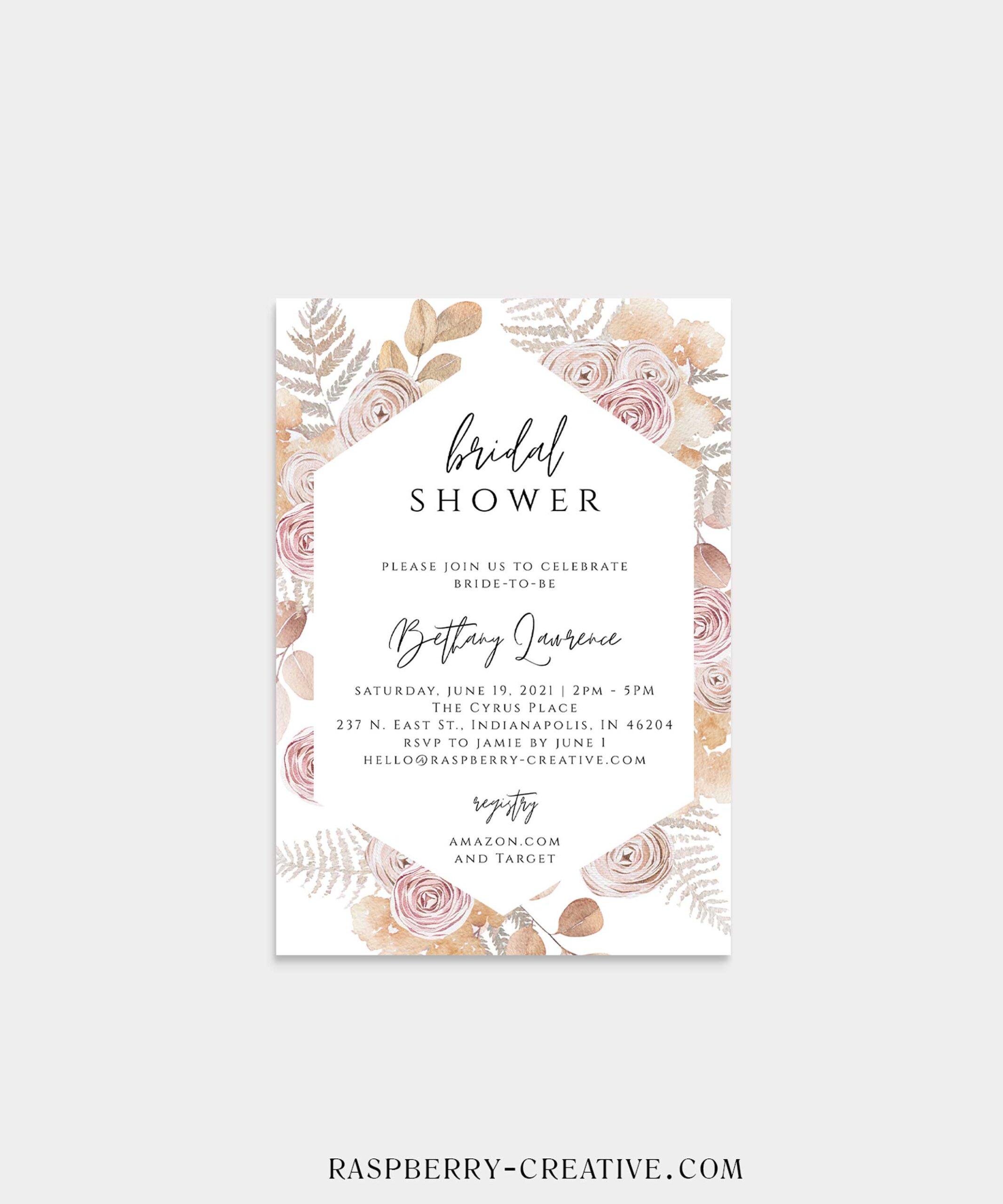 porcelain blush geo frame bridal shower invitation