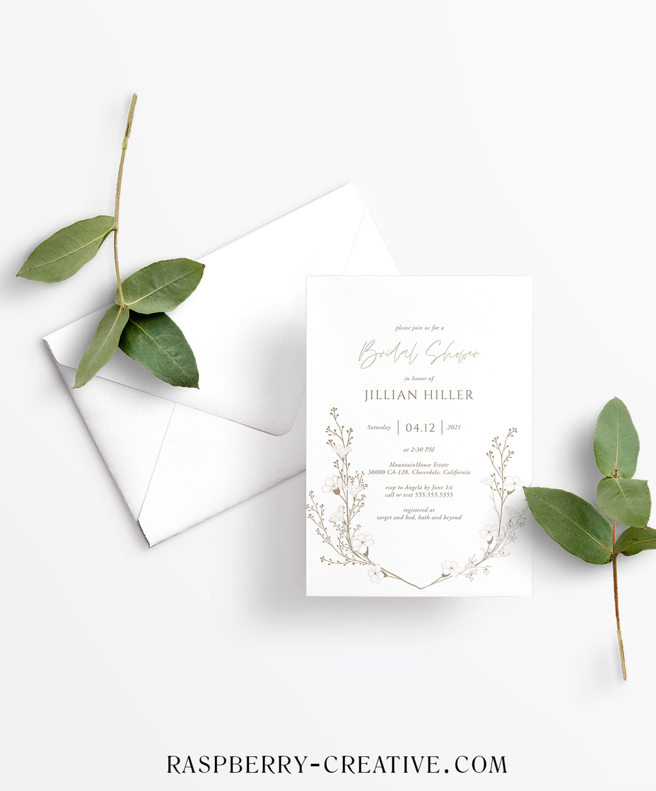 hand drawn branch boho bridal shower invitation