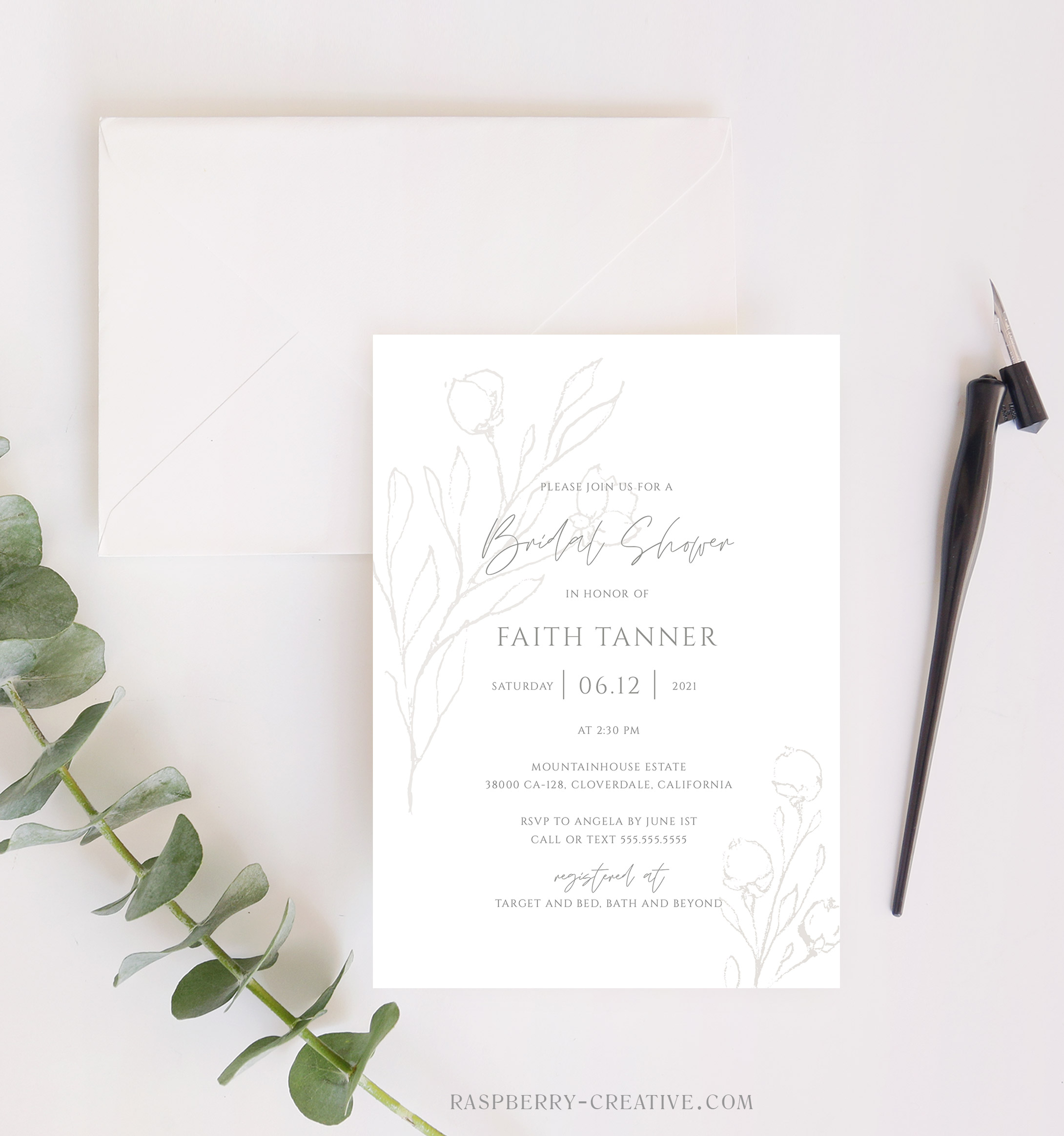 leeland elegant bridal shower invitation