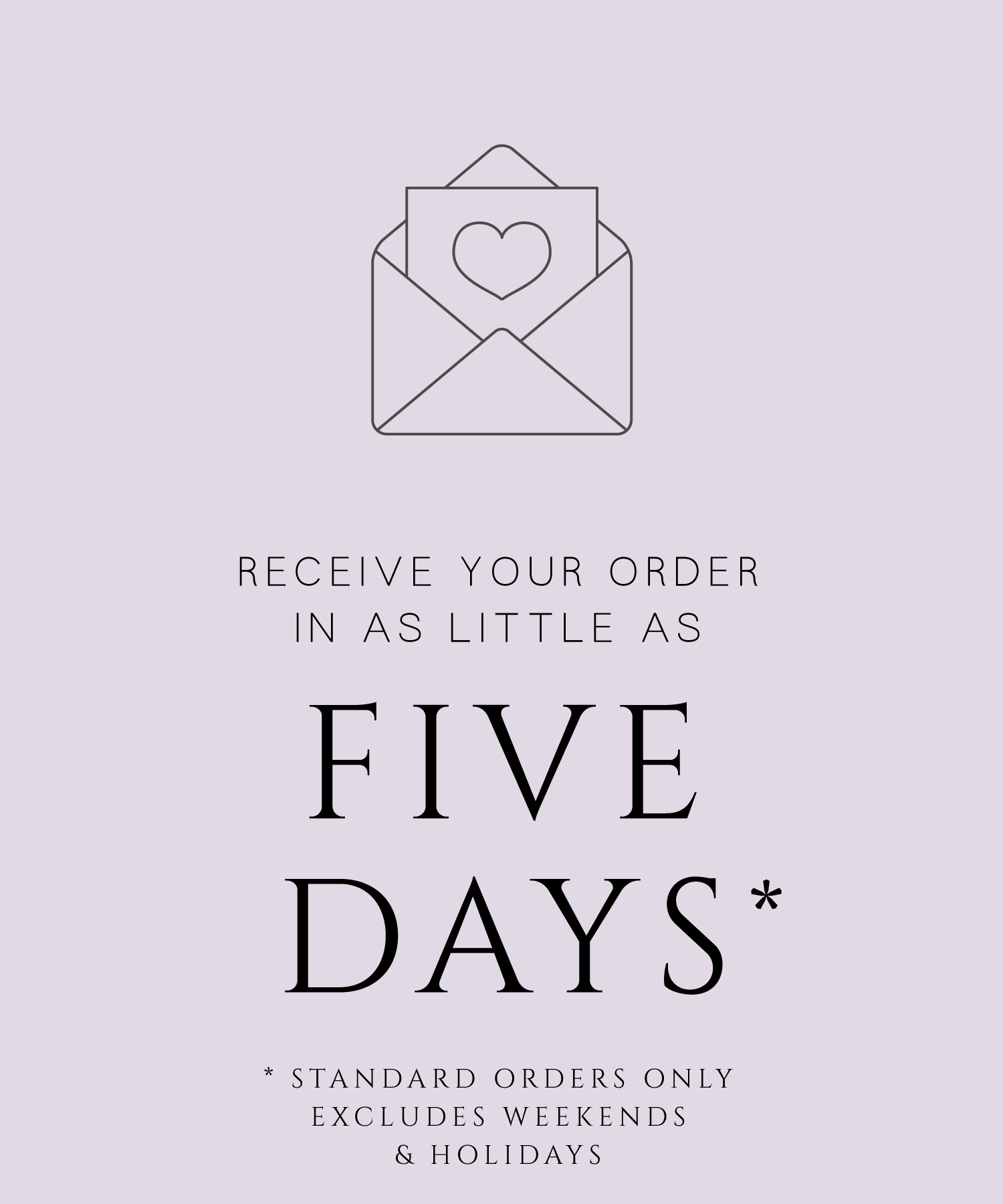 receive your order in five days