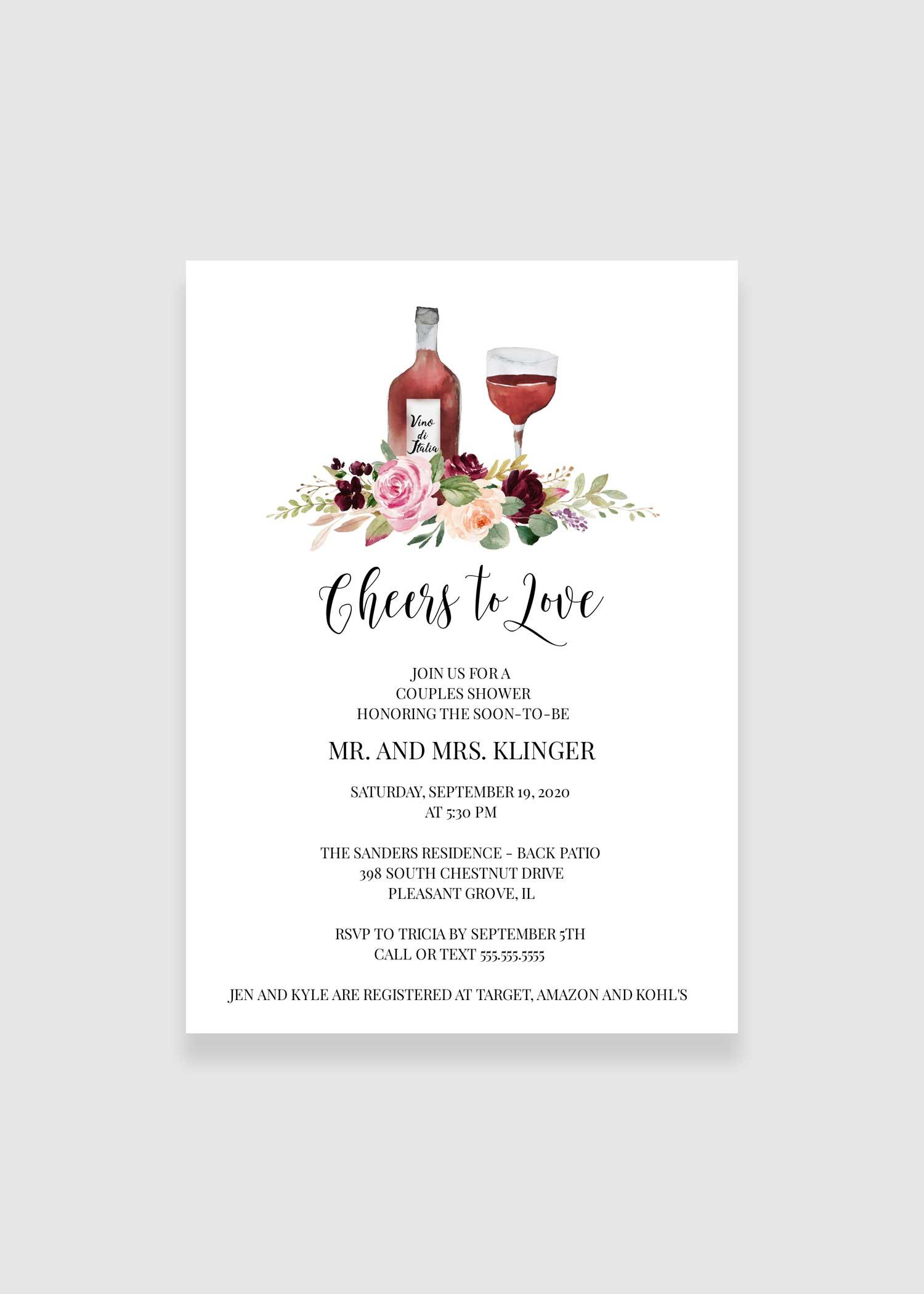 saffron cheers to love bridal shower invitation