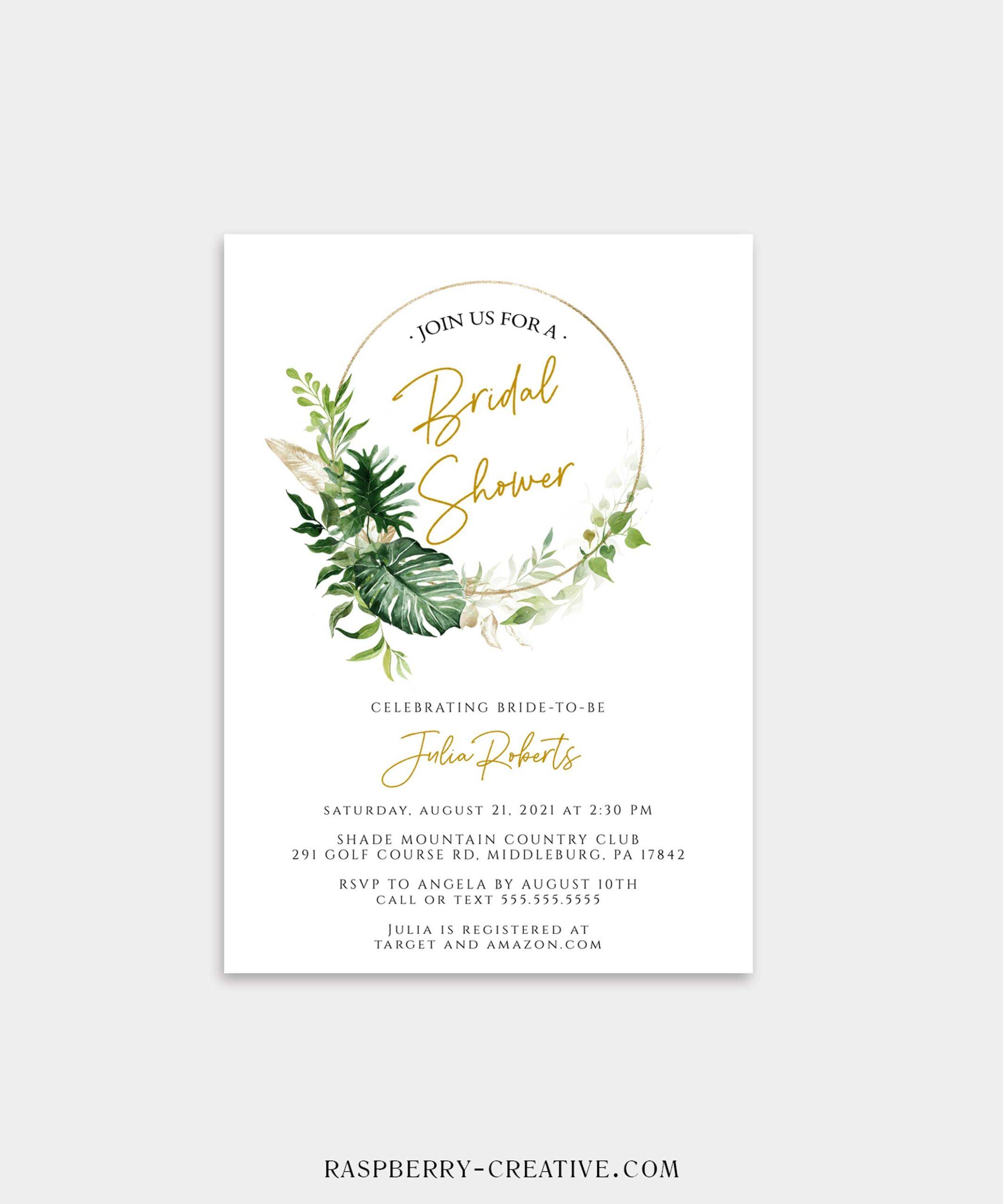 salt greenery gold bridal shower invitation