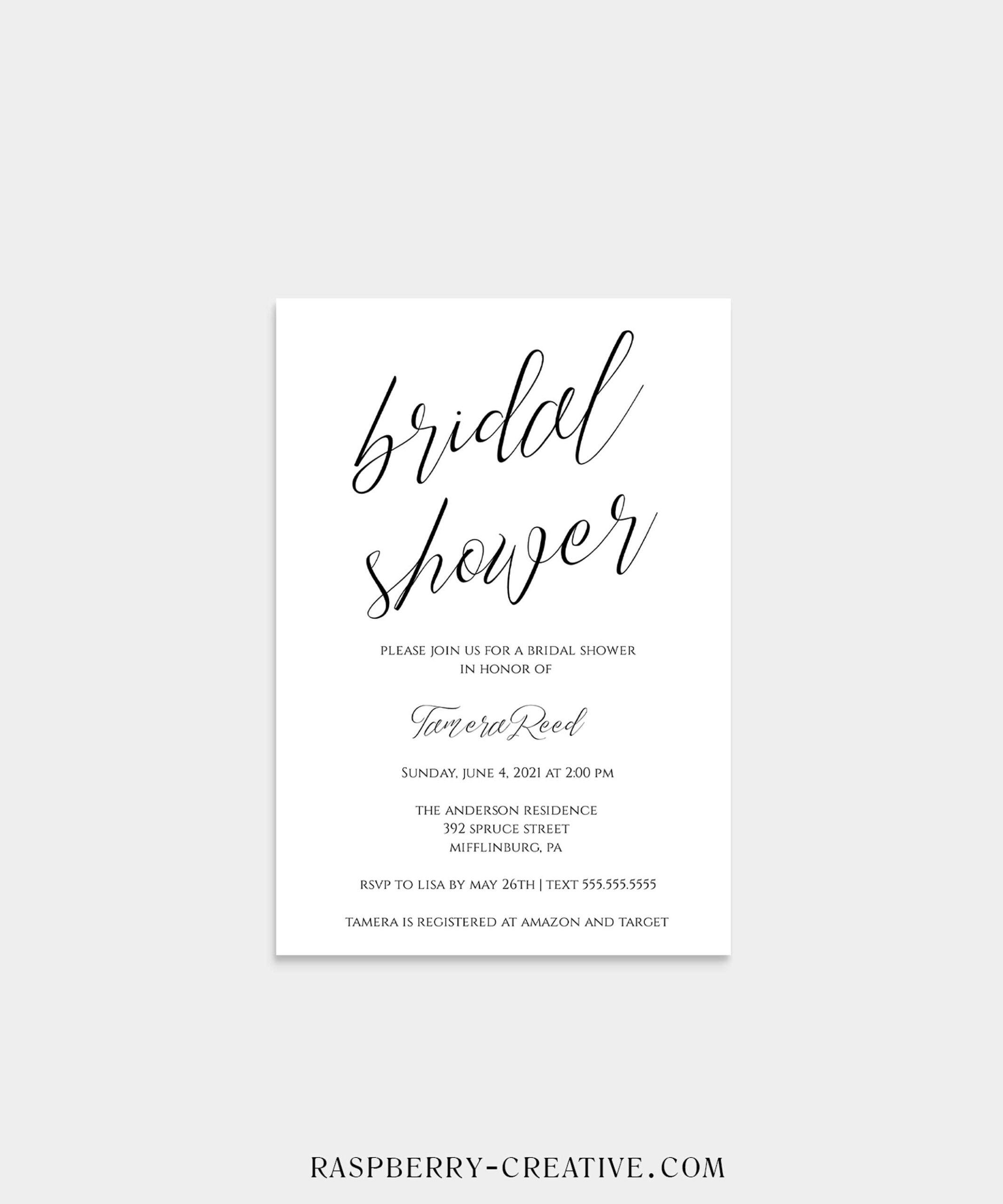Simple Script Bridal Shower Invitation