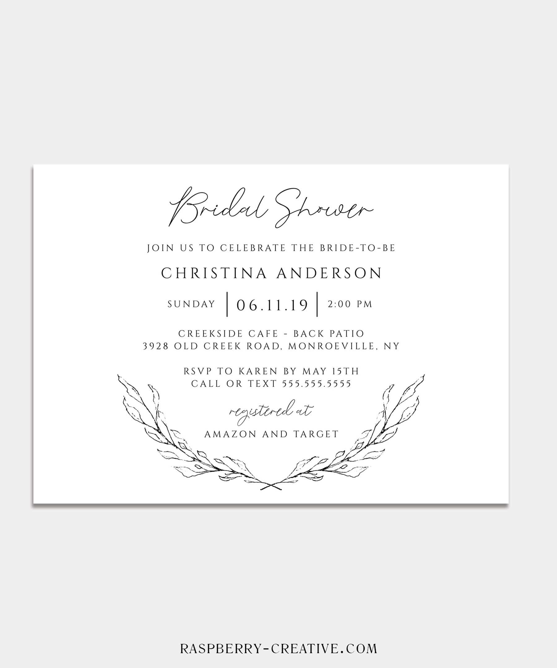 sketched branch bridal shower invitation