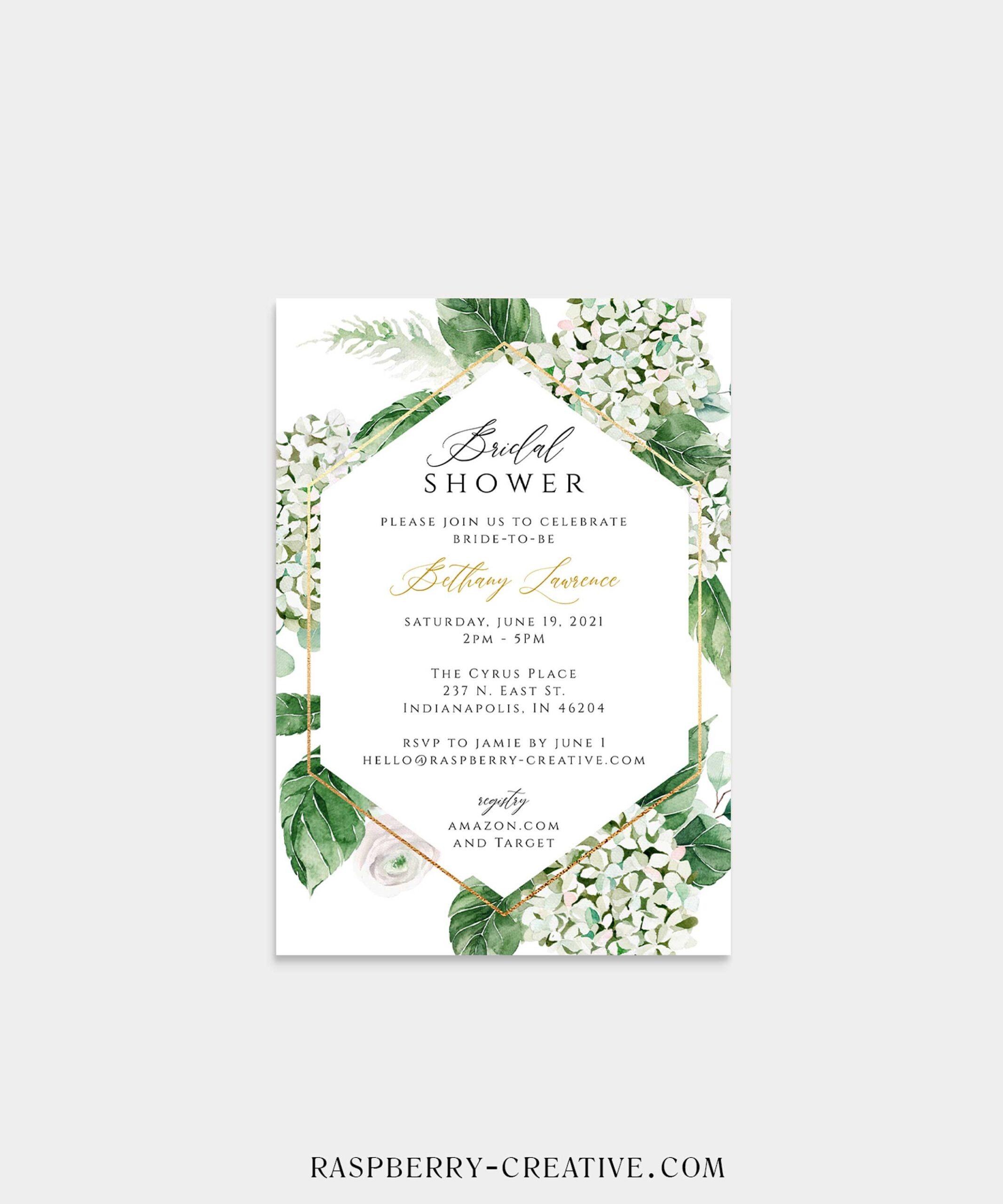 spring blossom hydrangea bridal shower invitation