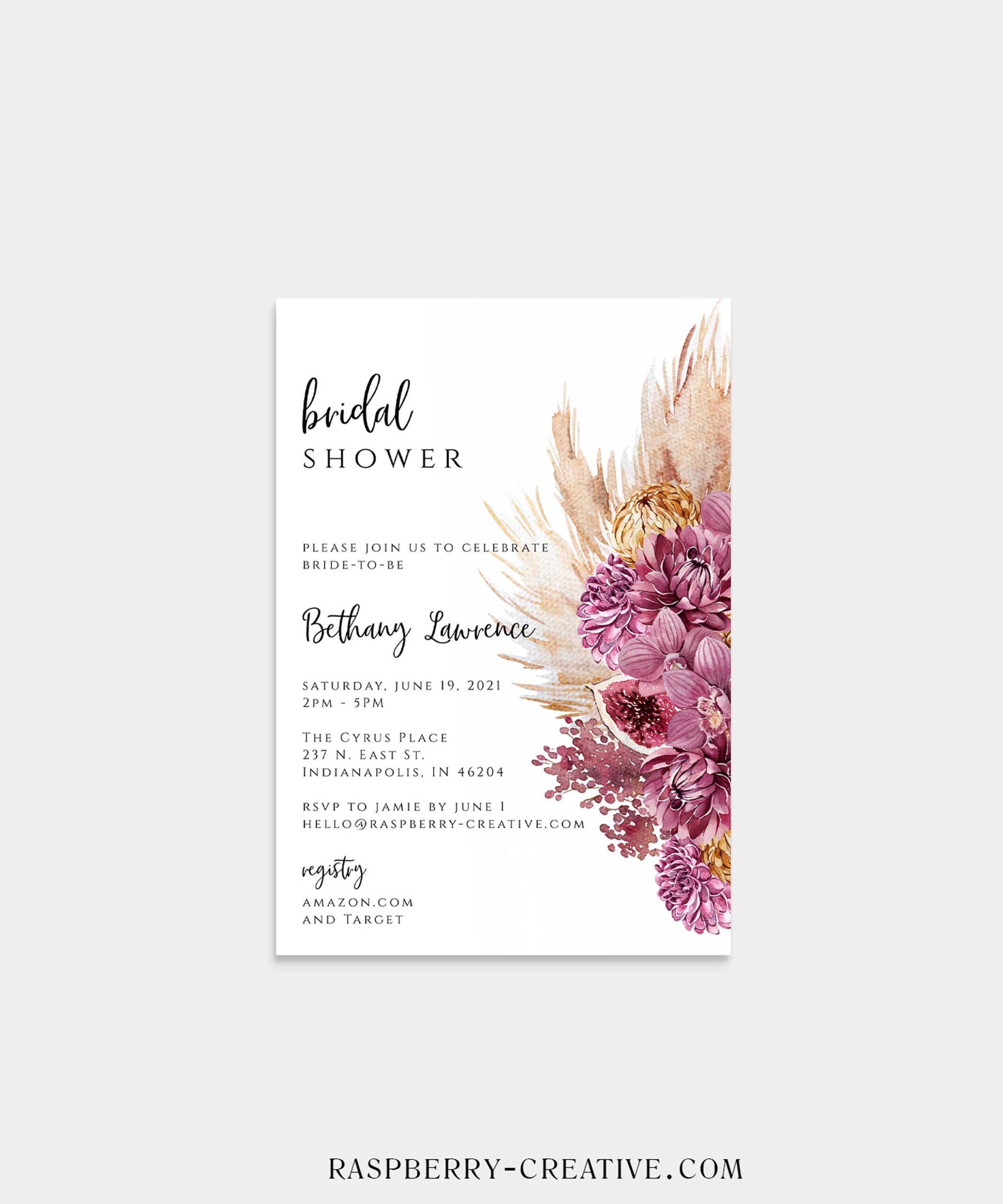 Wine berry Boho Bridal Shower Invitation
