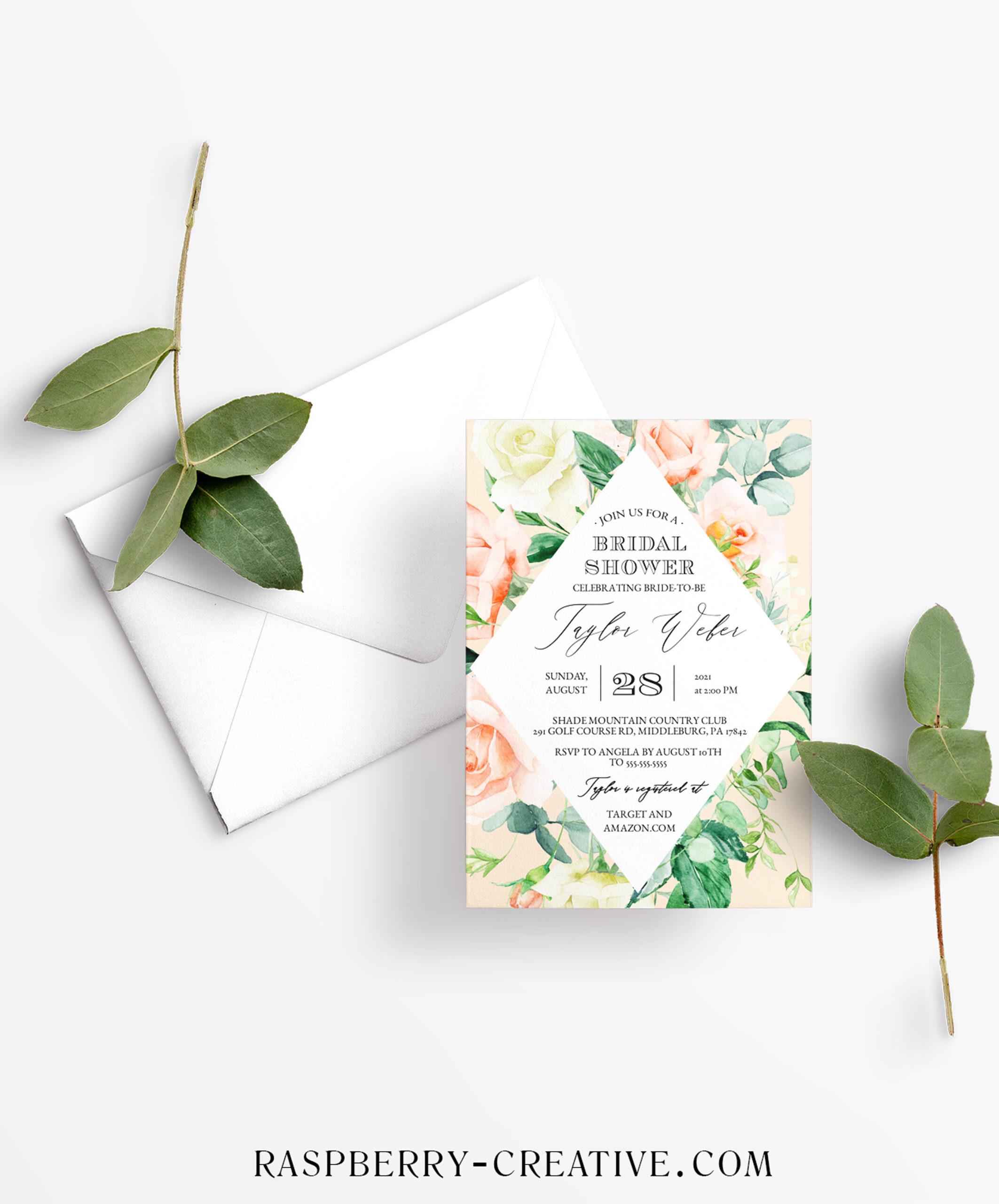 sweetest peach diamond bridal shower invitation