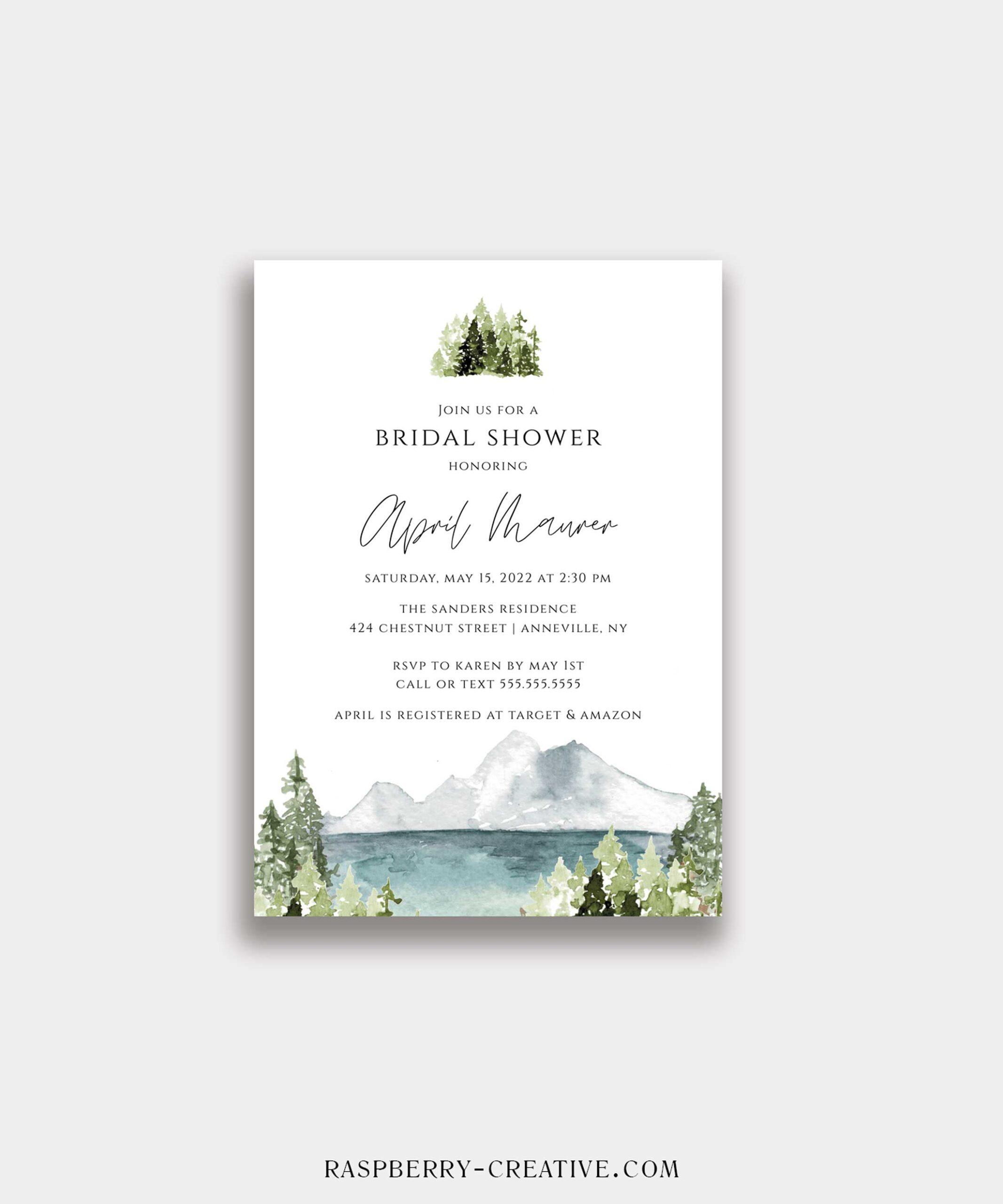 lake bridal shower invitation