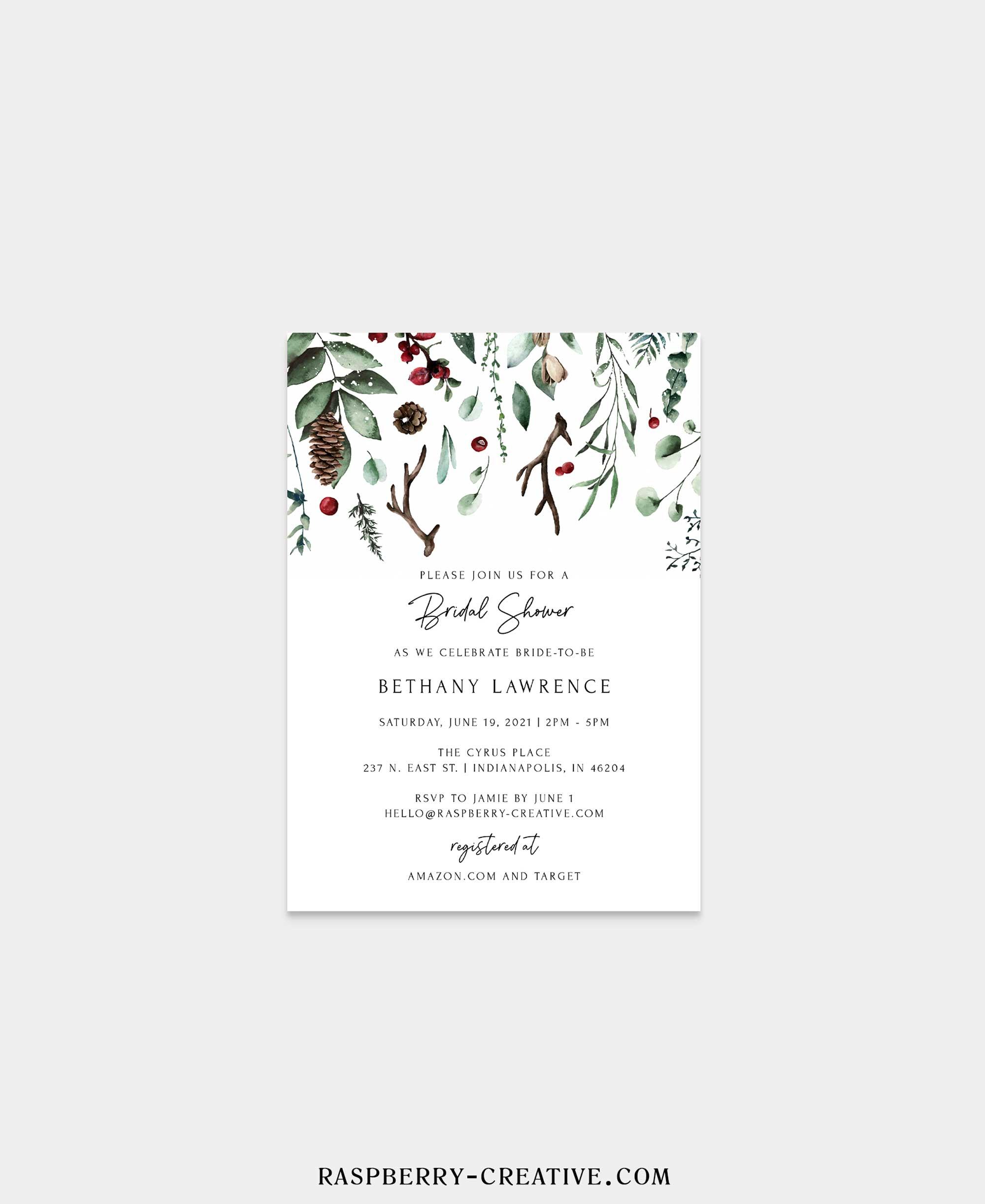 winter holiday bridal shower invitation