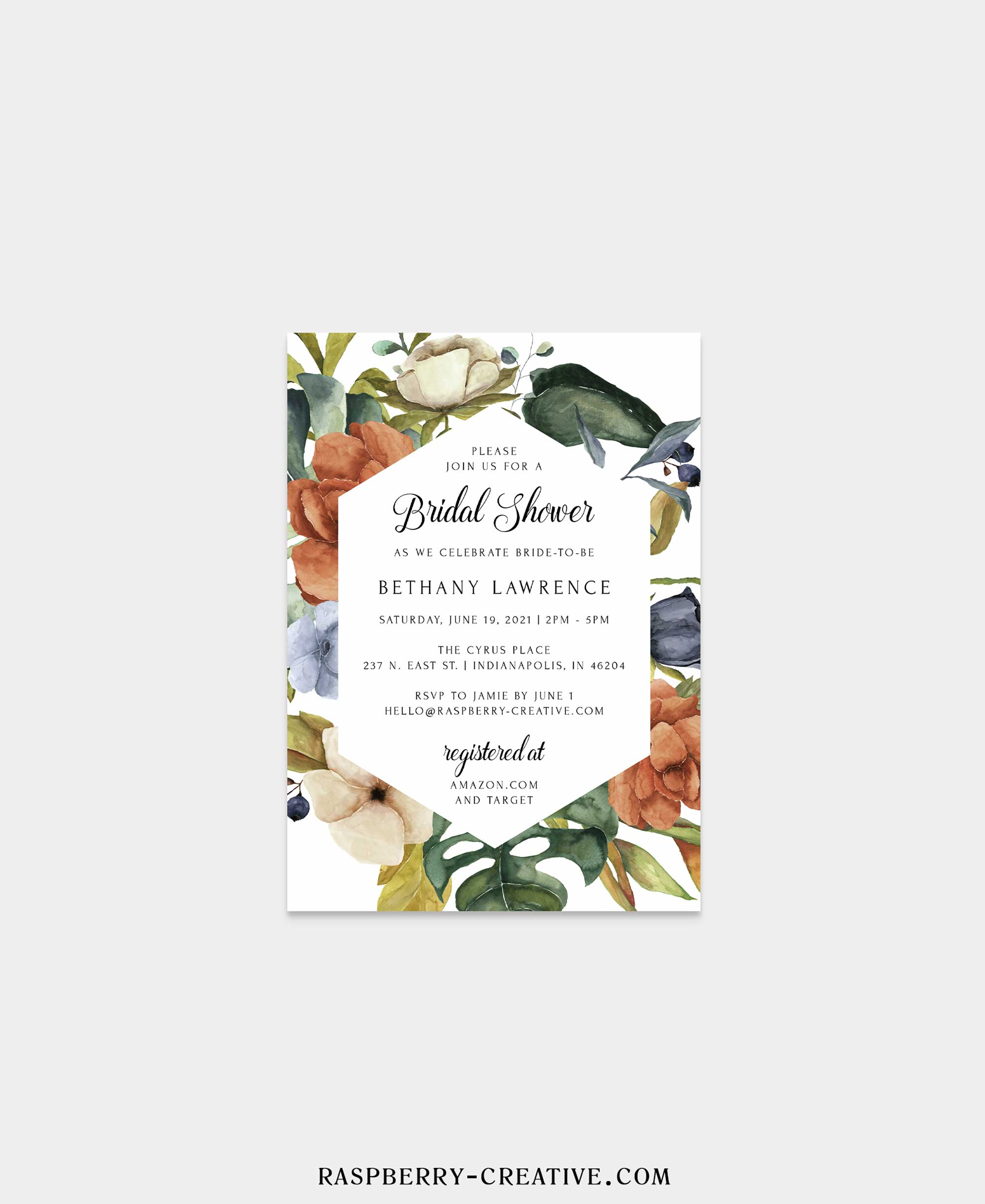 zephyr fall floral bridal shower invitation