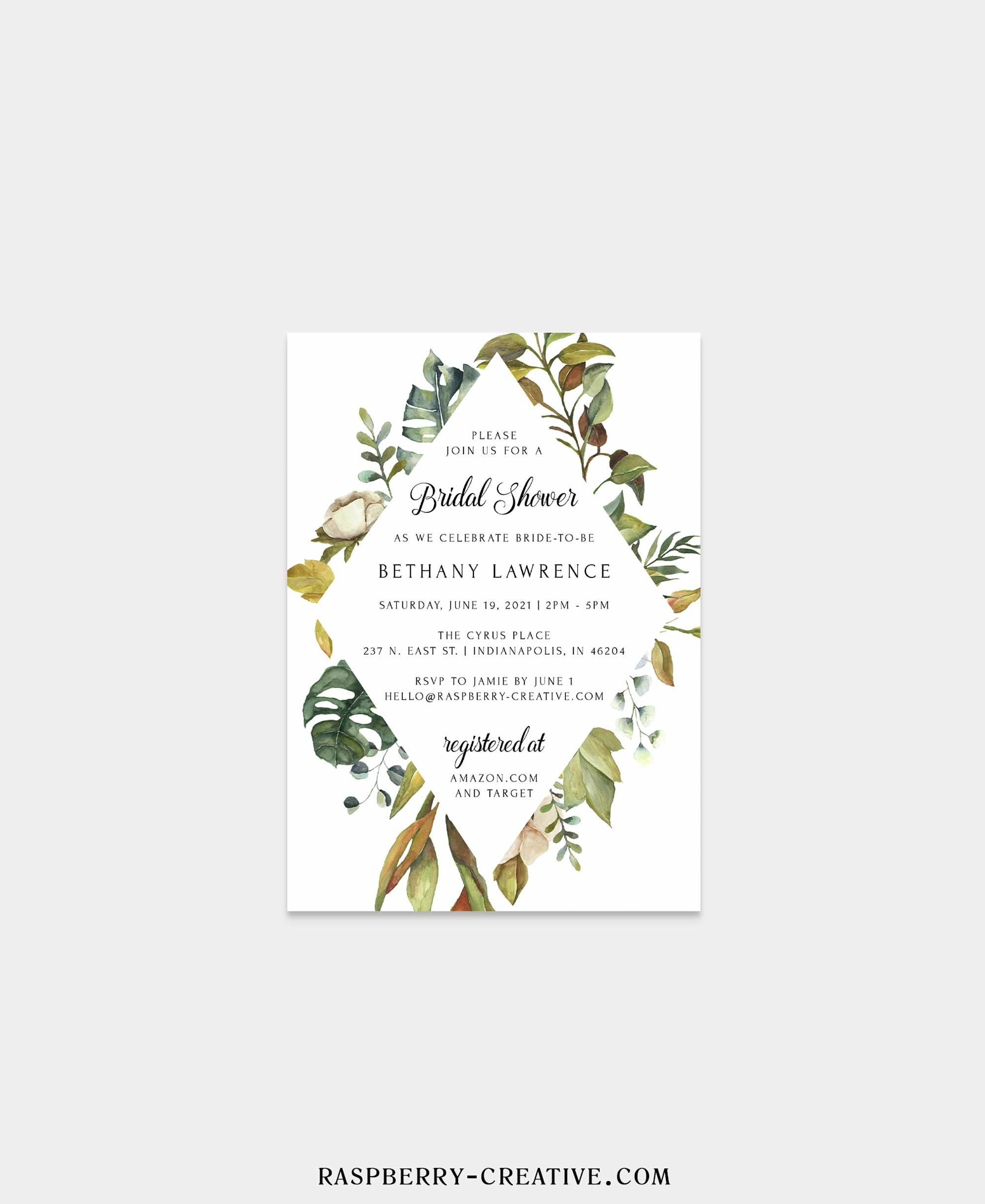 greenery diamond bridal shower invitation