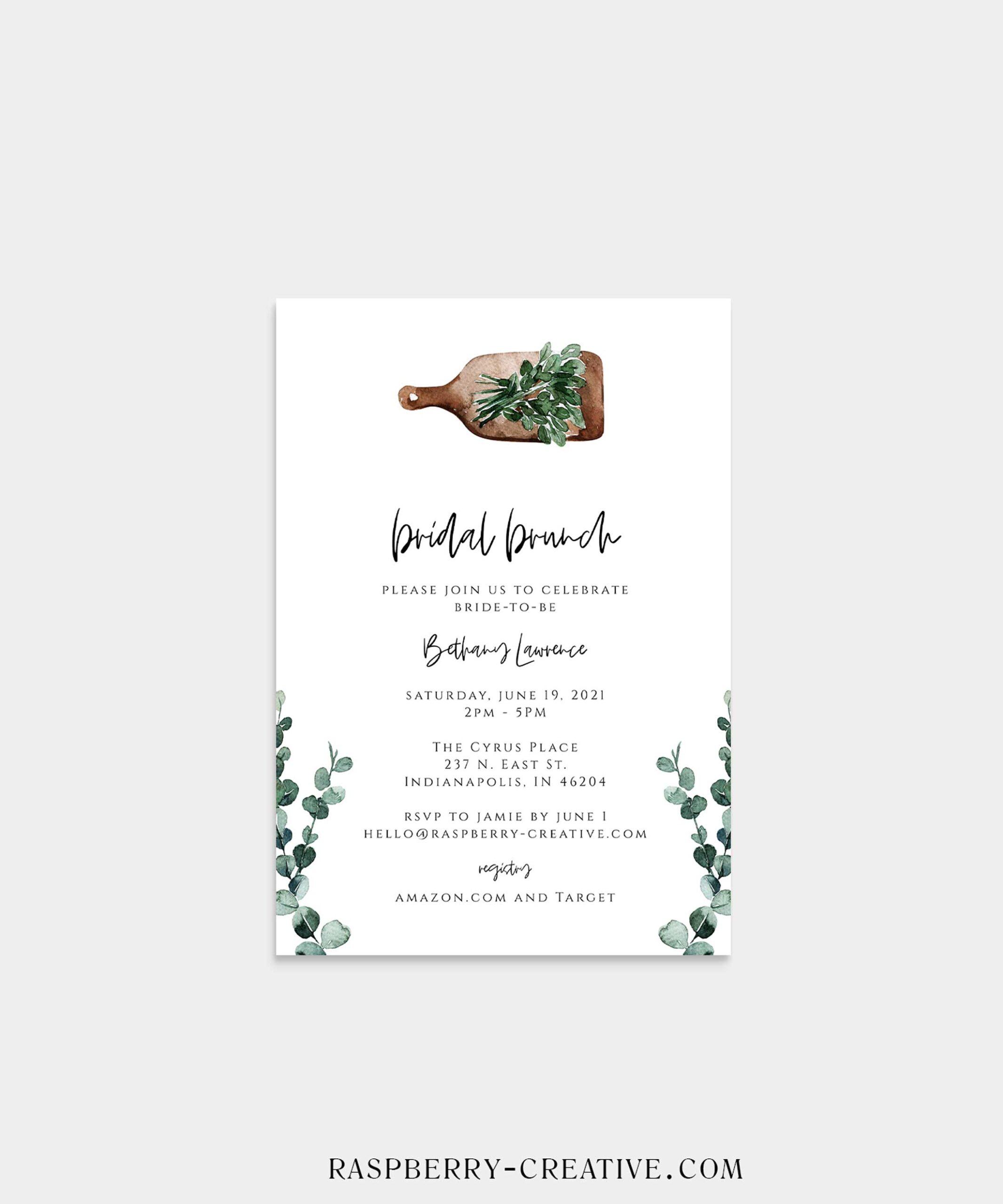 greenery breadboard bridal shower invitation