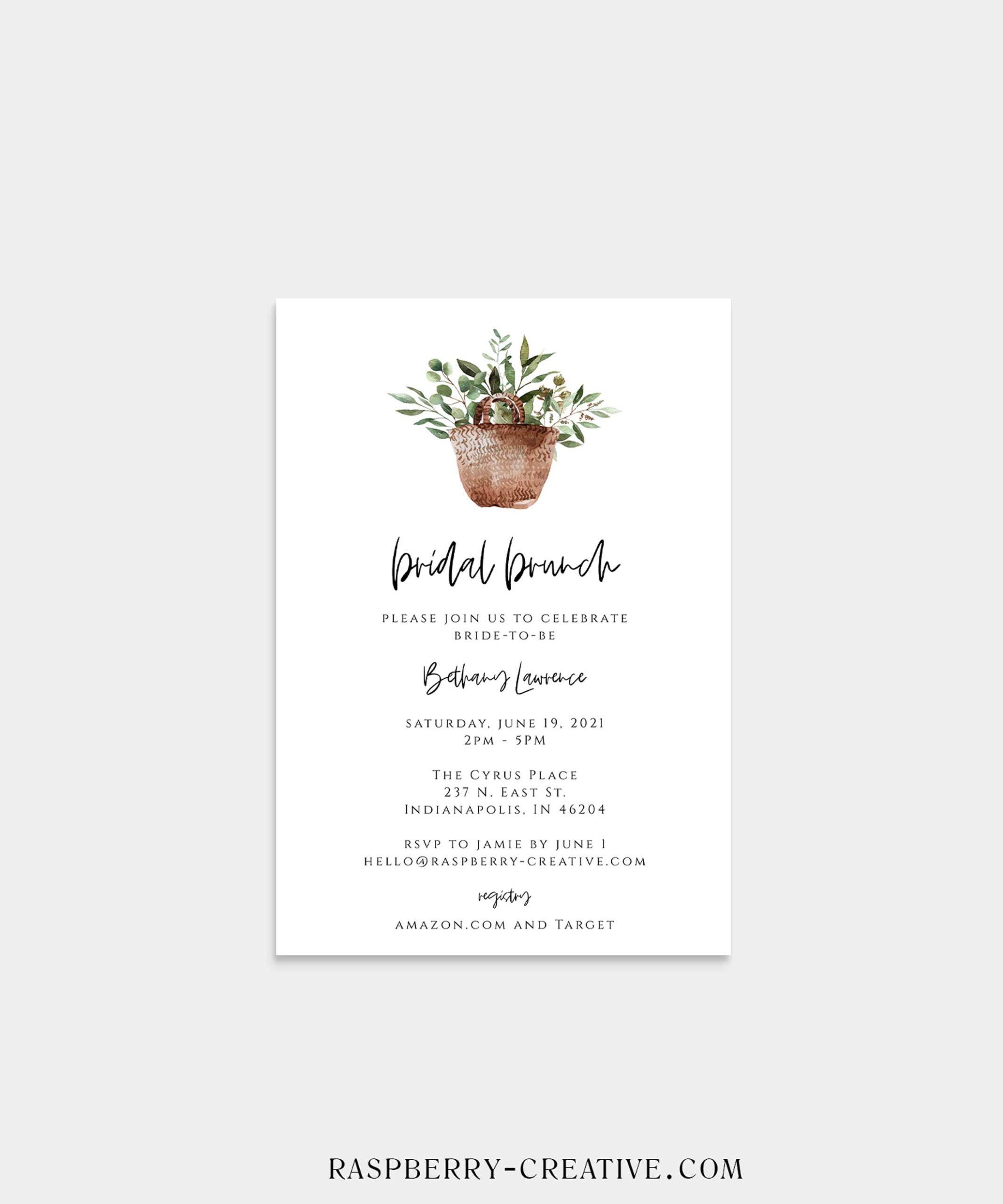 greenery bridal brunch shower invitation