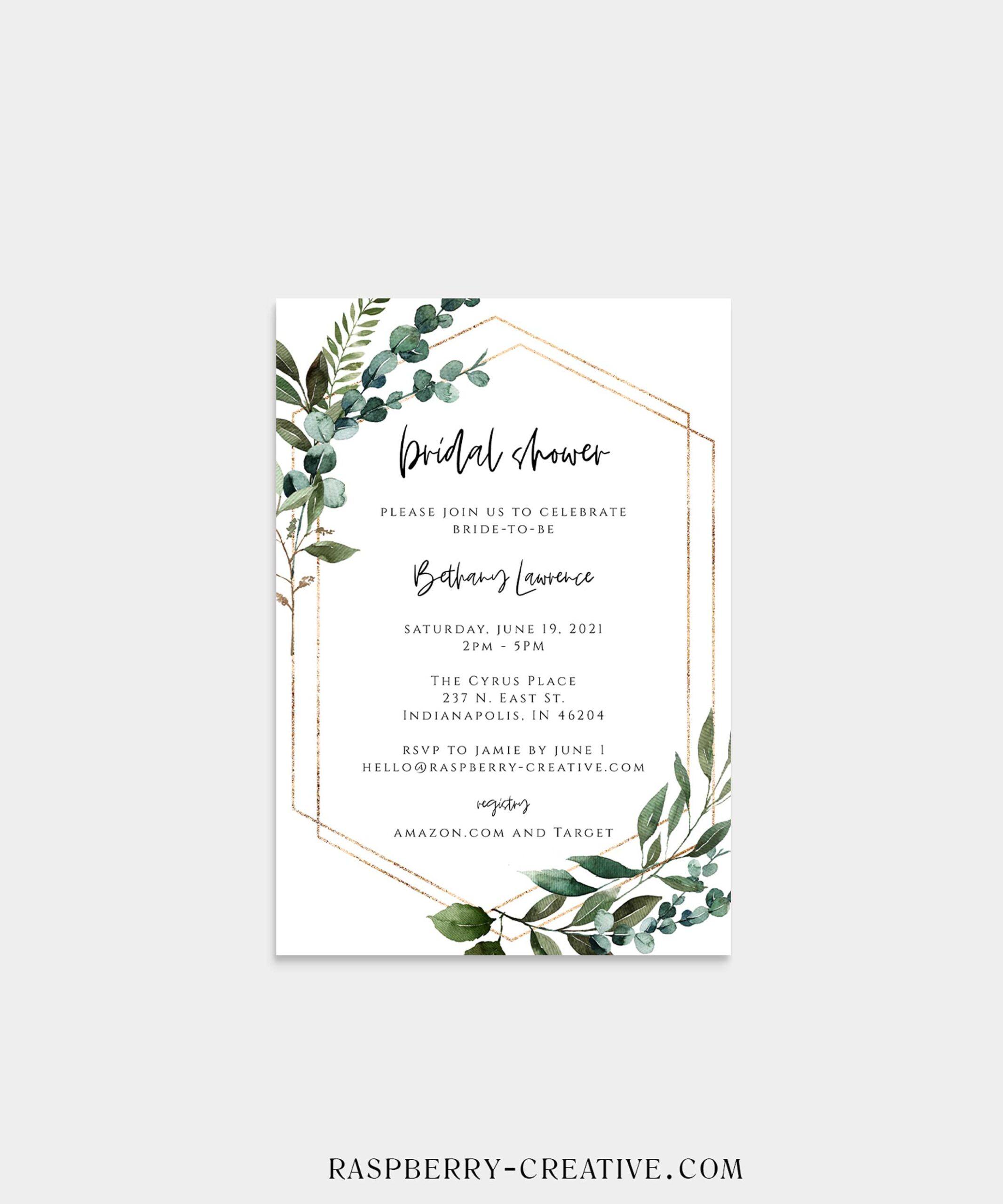 geometric greenery bridal shower invitation