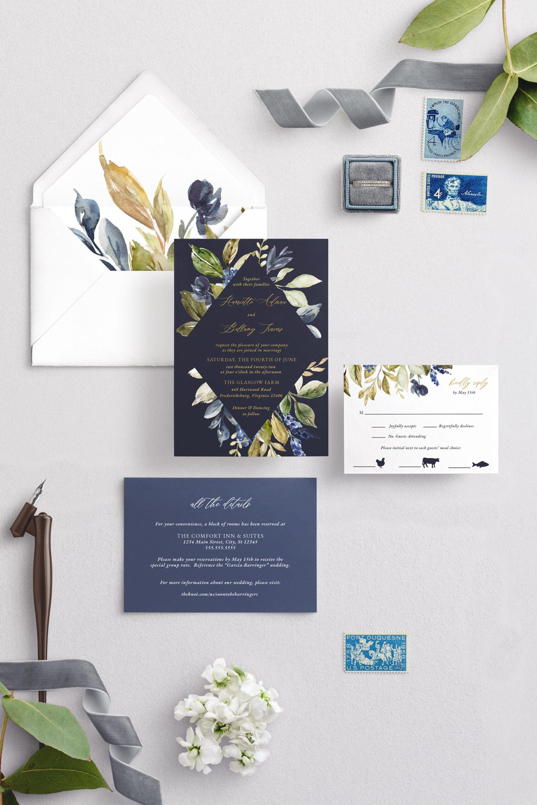 navy blue rustic diamond frame wedding invitation