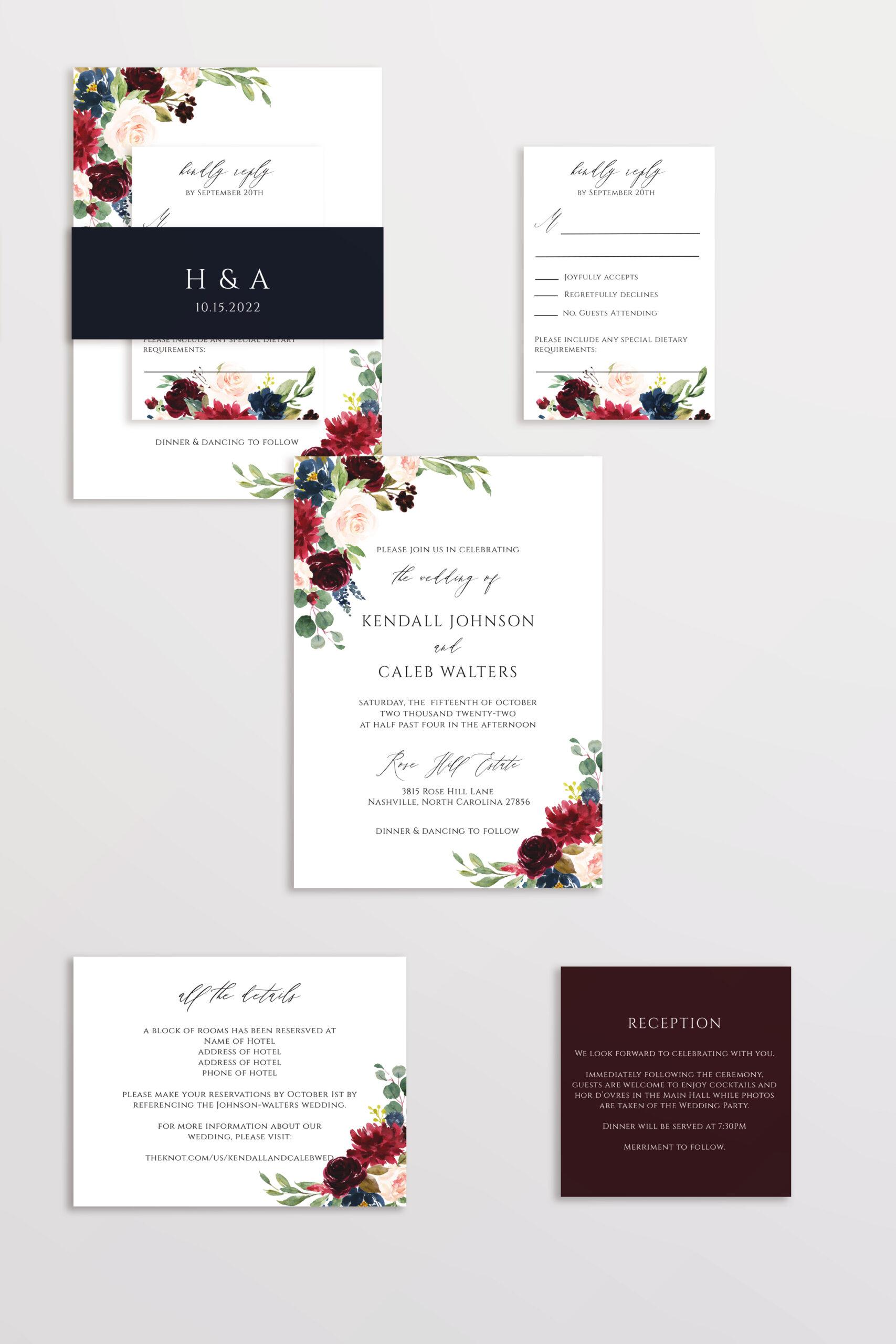 burgundy blush navy wedding invitation