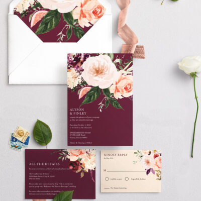 burgundy wedding invitation