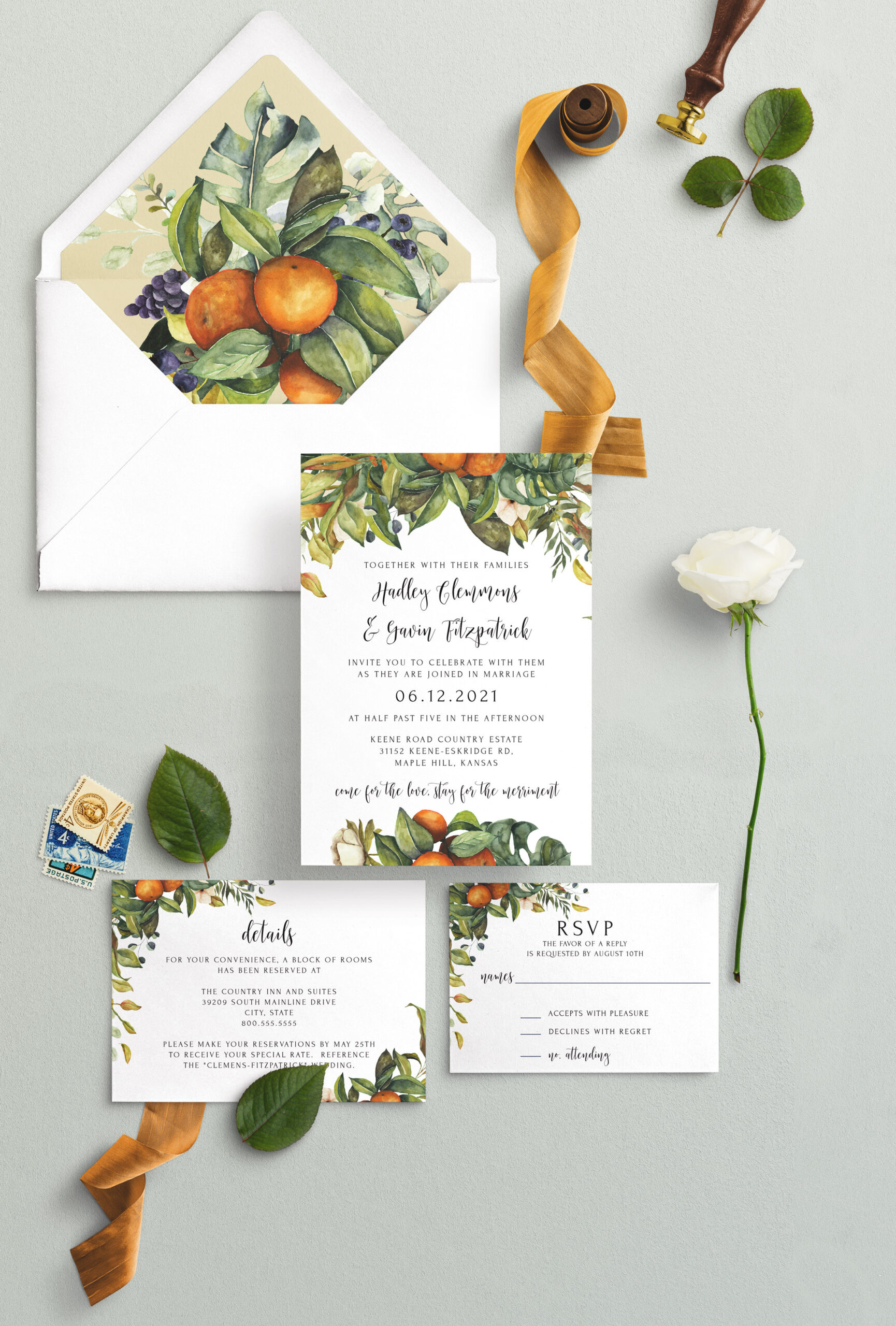 thanksgiving citruis wedding invitation sutie