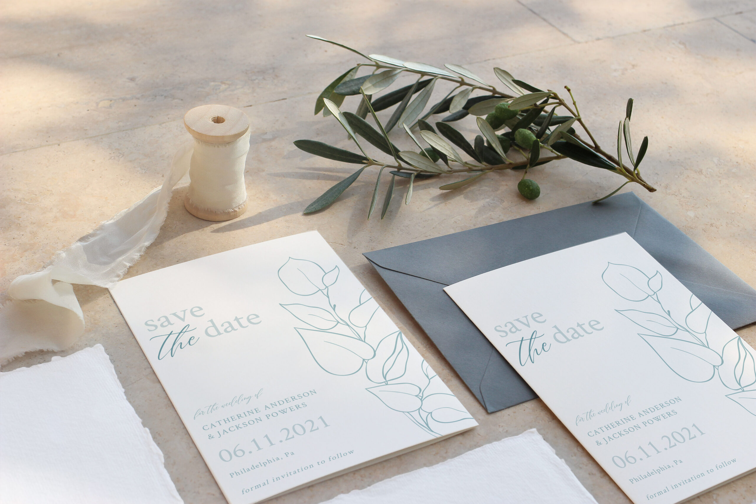 botanical bundle save the date card
