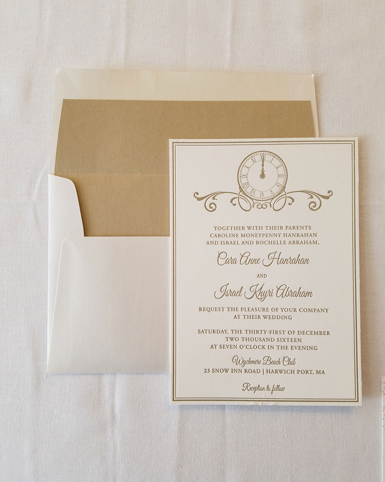 gold letterpress new years eve wedding invitation