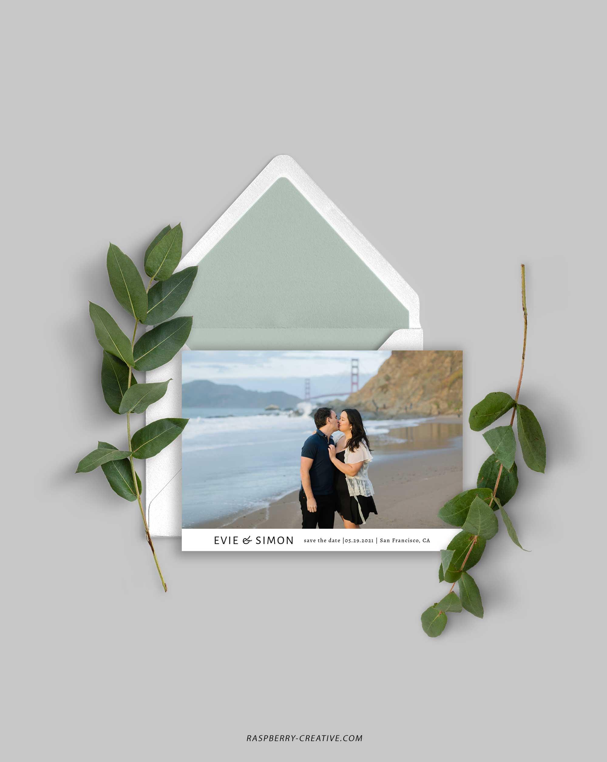 minimalist photo save the date card