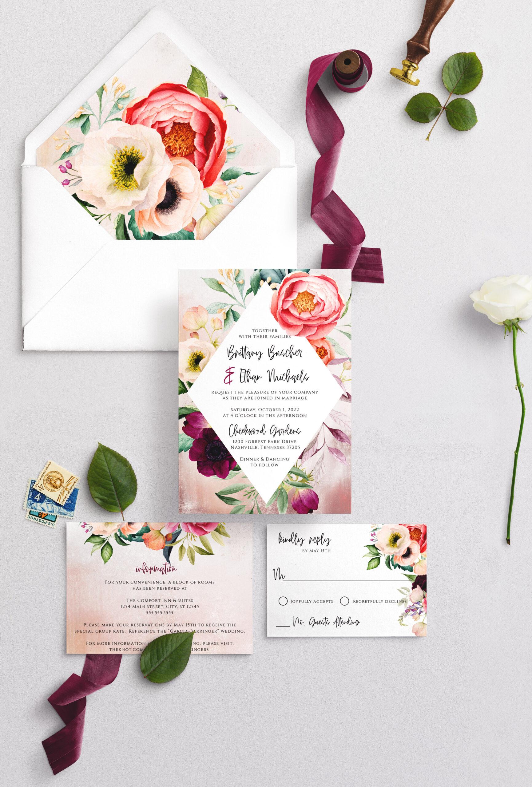 boho diamond wedding invitation