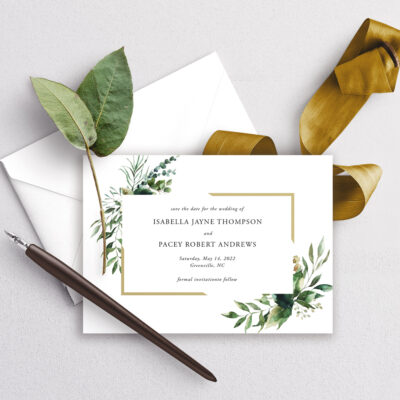 greenery and gold modern save the date card