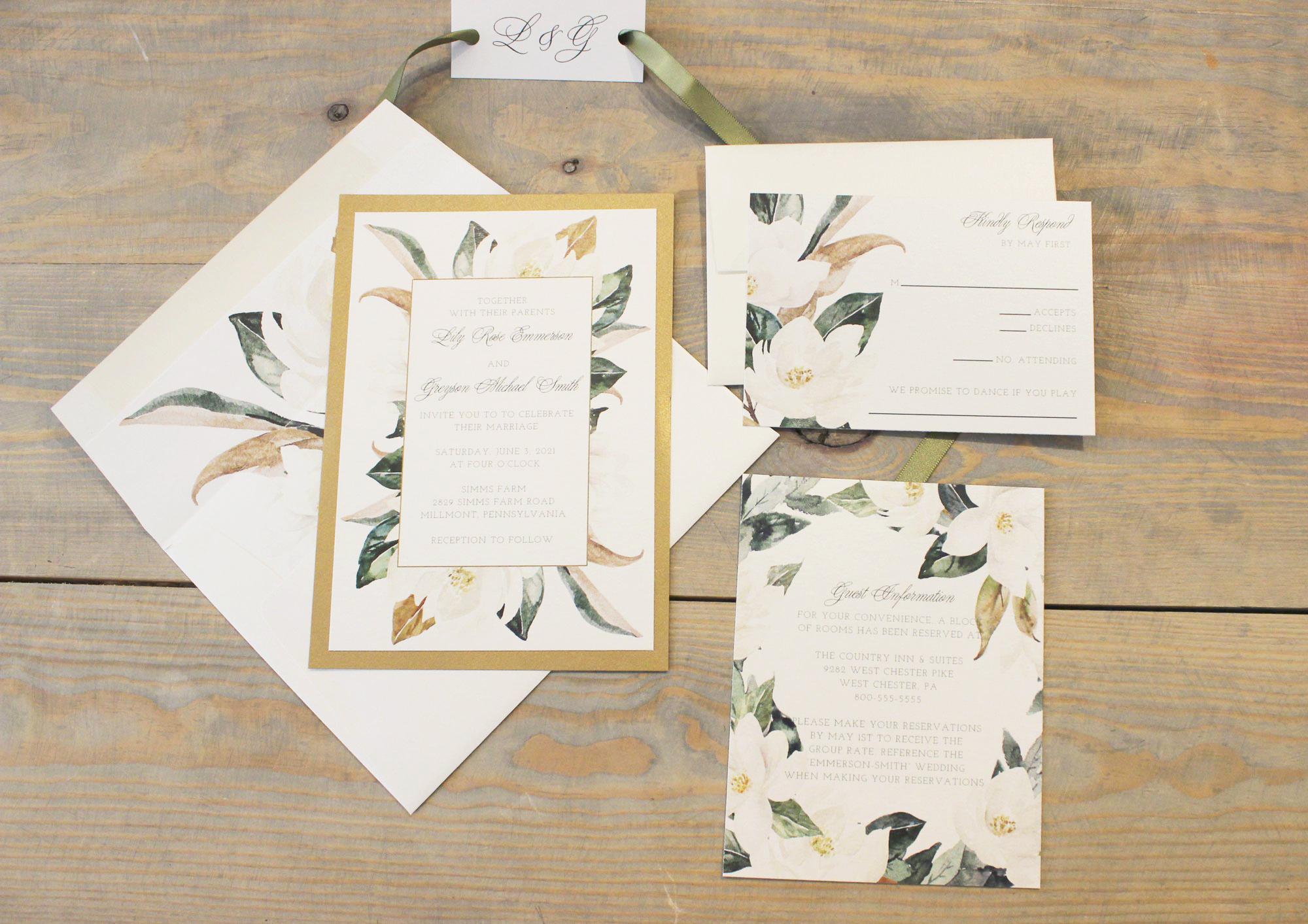 gold magnolia wedding invitation