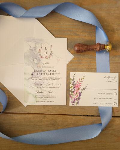 wildflower monogram wedding invitation