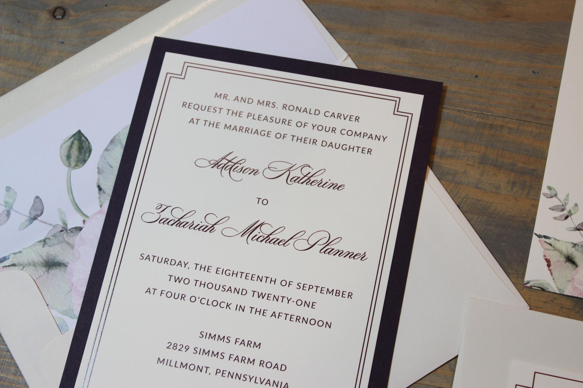 plum traditional border wedding invitation