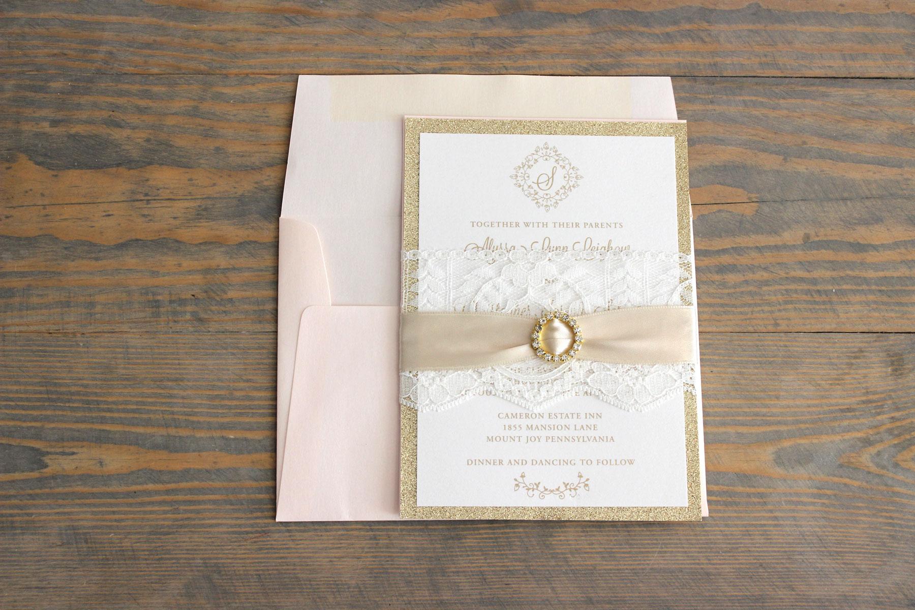 blush and gold rhinestone wedding invitation