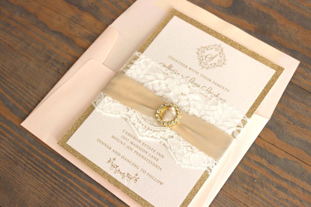 blush and gold wedding invitation