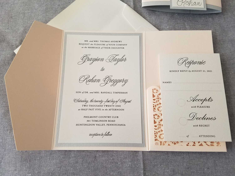 classic blush and silver laser cut wedding invitation
