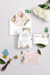 lush and nude boho wedding invitation