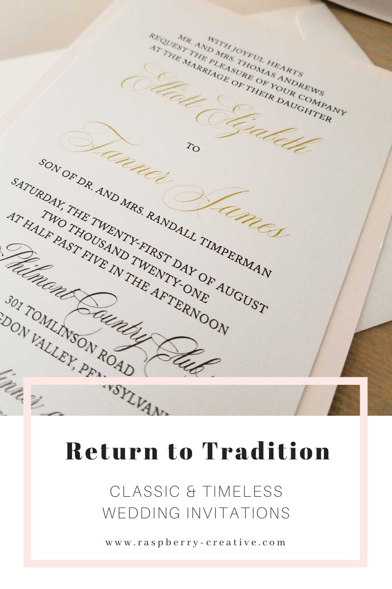 return to tradition - classic and timeless wedding invitations