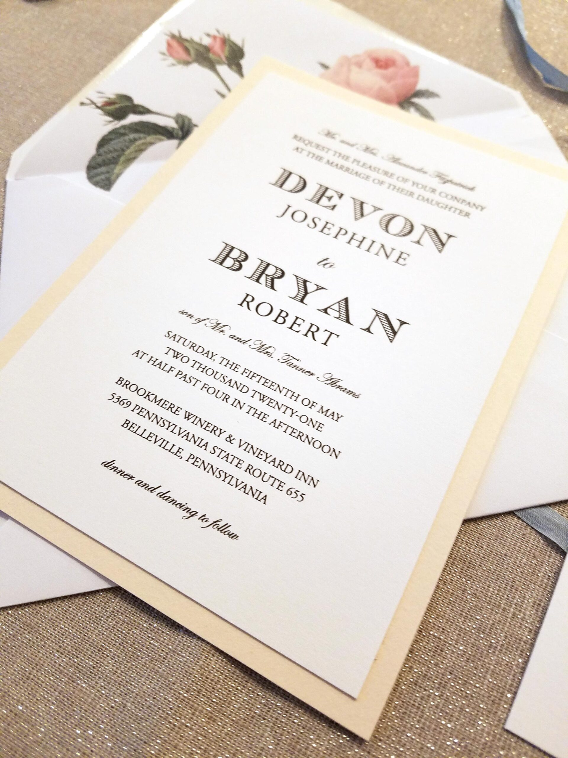 modern classic wedding invitation with vintage roses