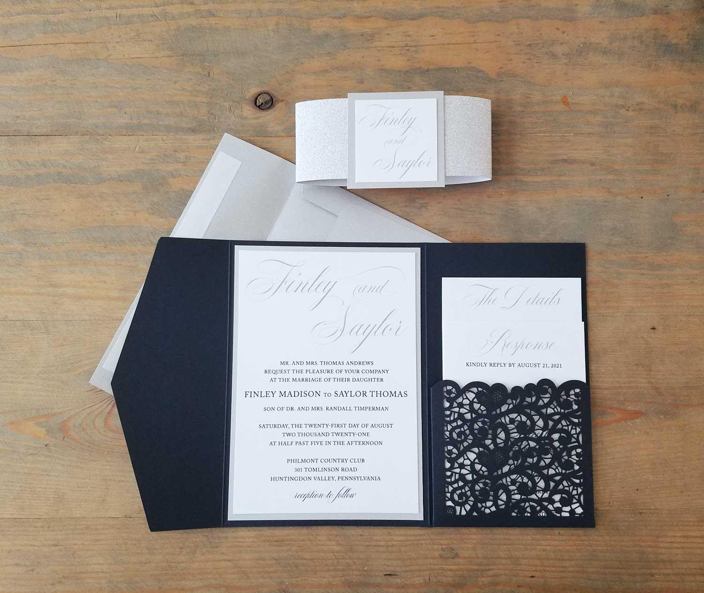 traditional navy lasercut pocket wedding invitation