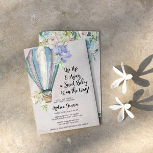 wanderlust up and away hot air balloon baby shower invitation