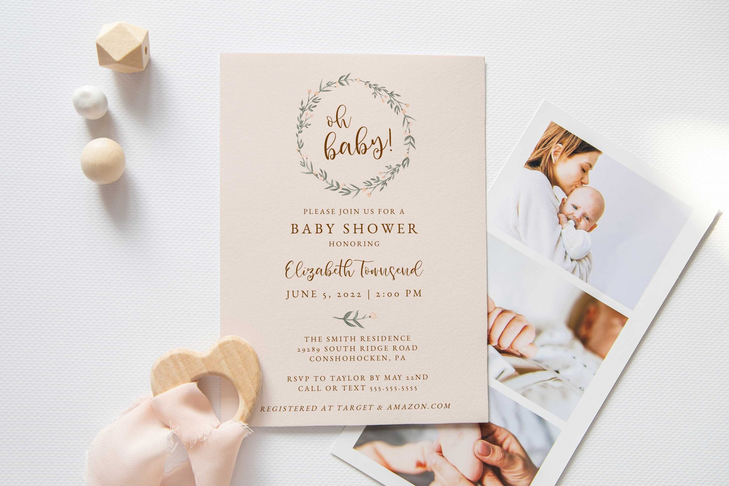 baby boom wreath oh baby shower invitation