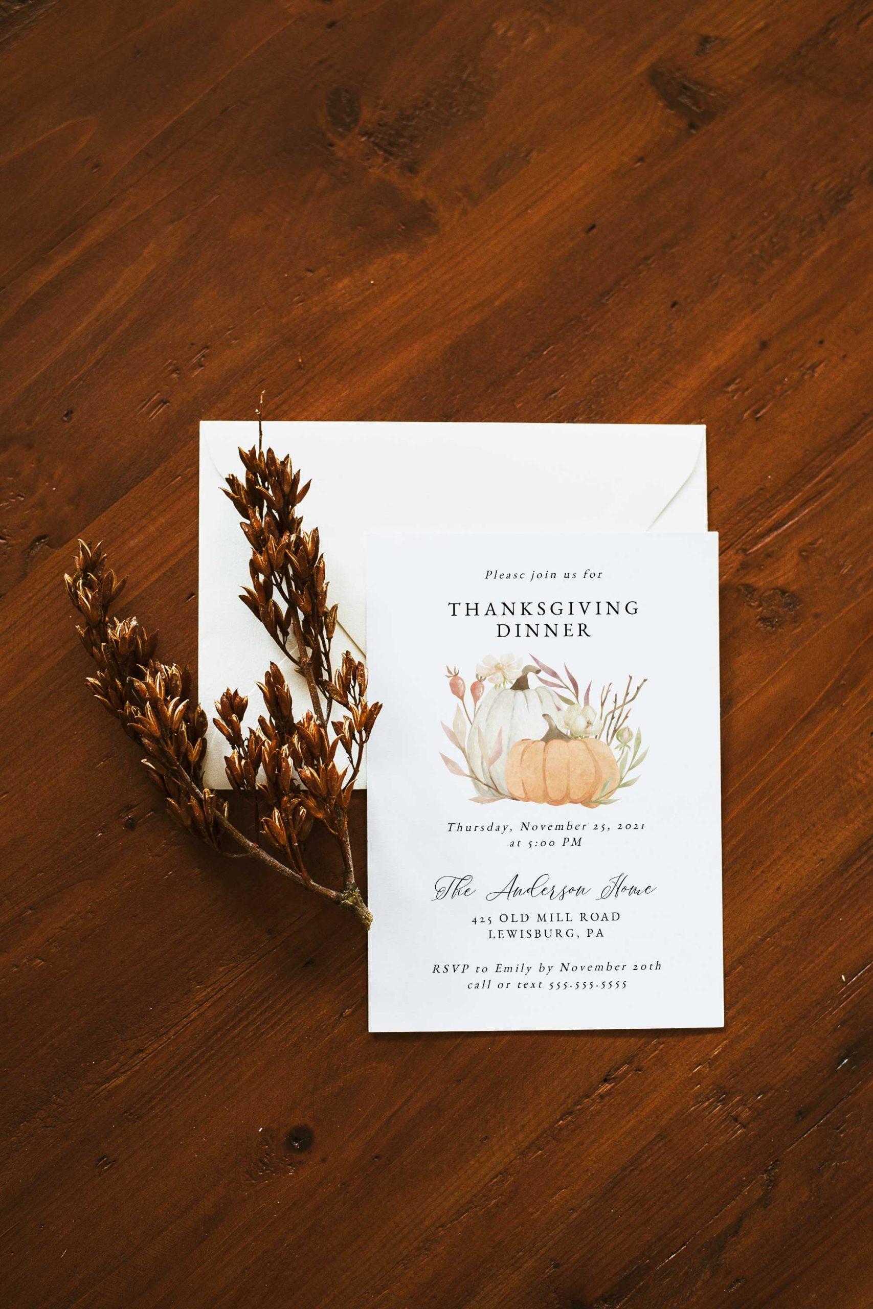 pumpkin thanksgiving dinner invitation